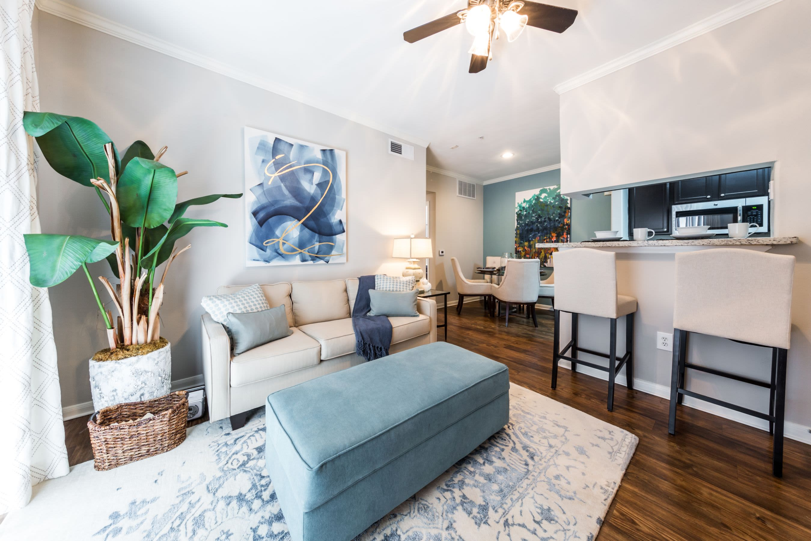 Living space with ceiling fan Marquis on Westheimer in Houston, Texas