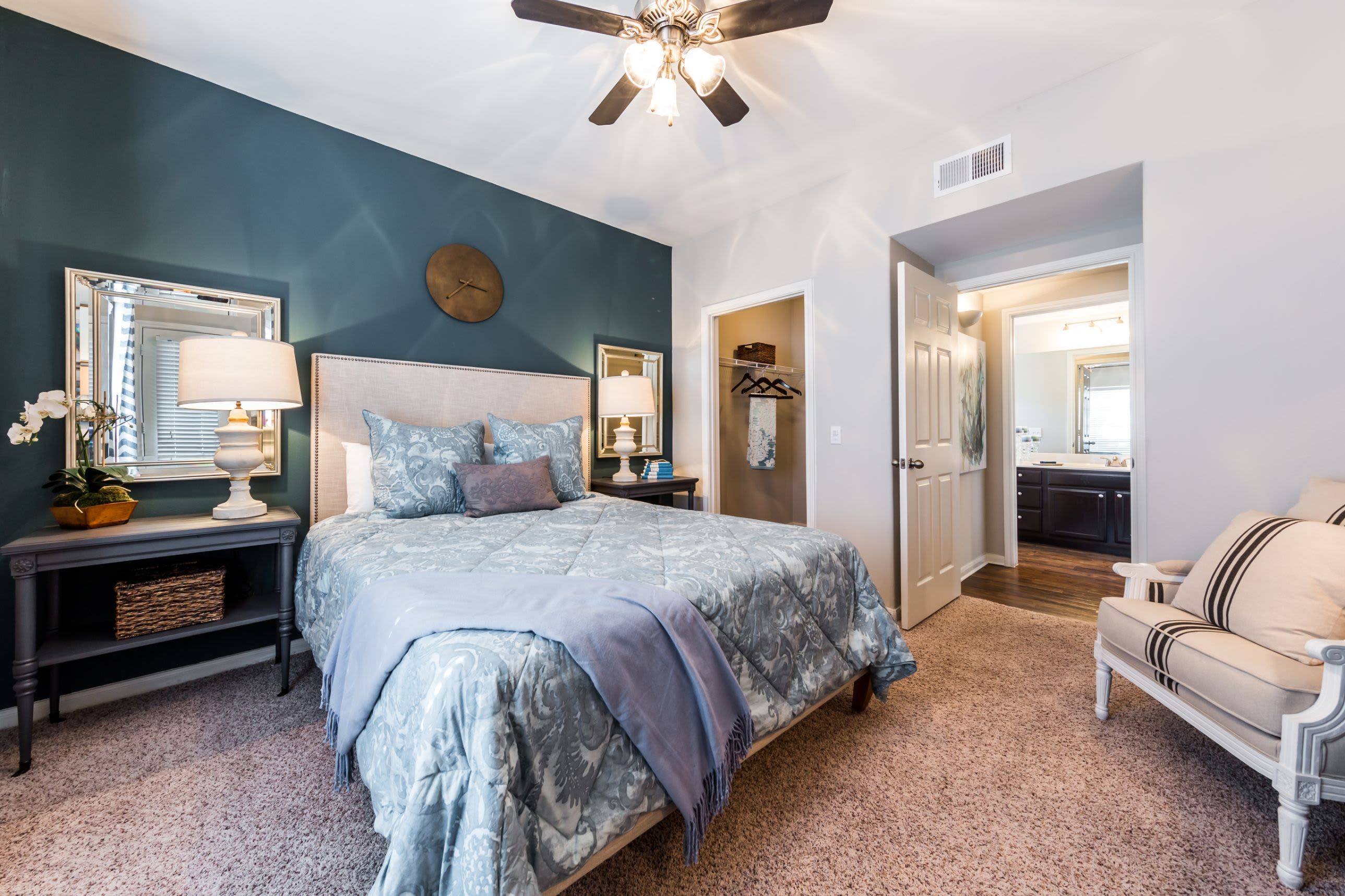 Bedroom with ceiling fan at Marquis on Westheimer in Houston, Texas