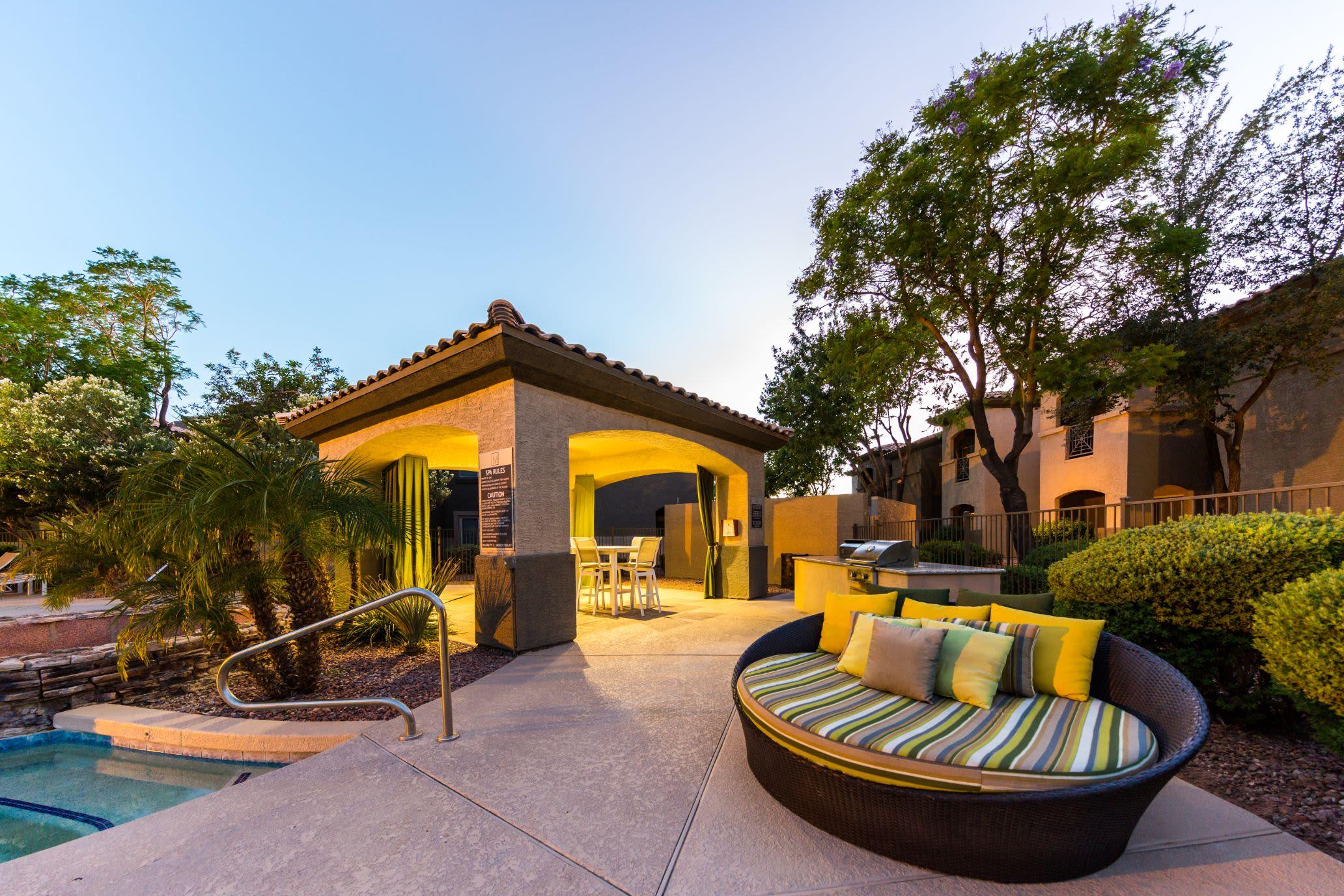 Gazebo near pool at dusk at Marquis at Arrowhead in Peoria, Arizona