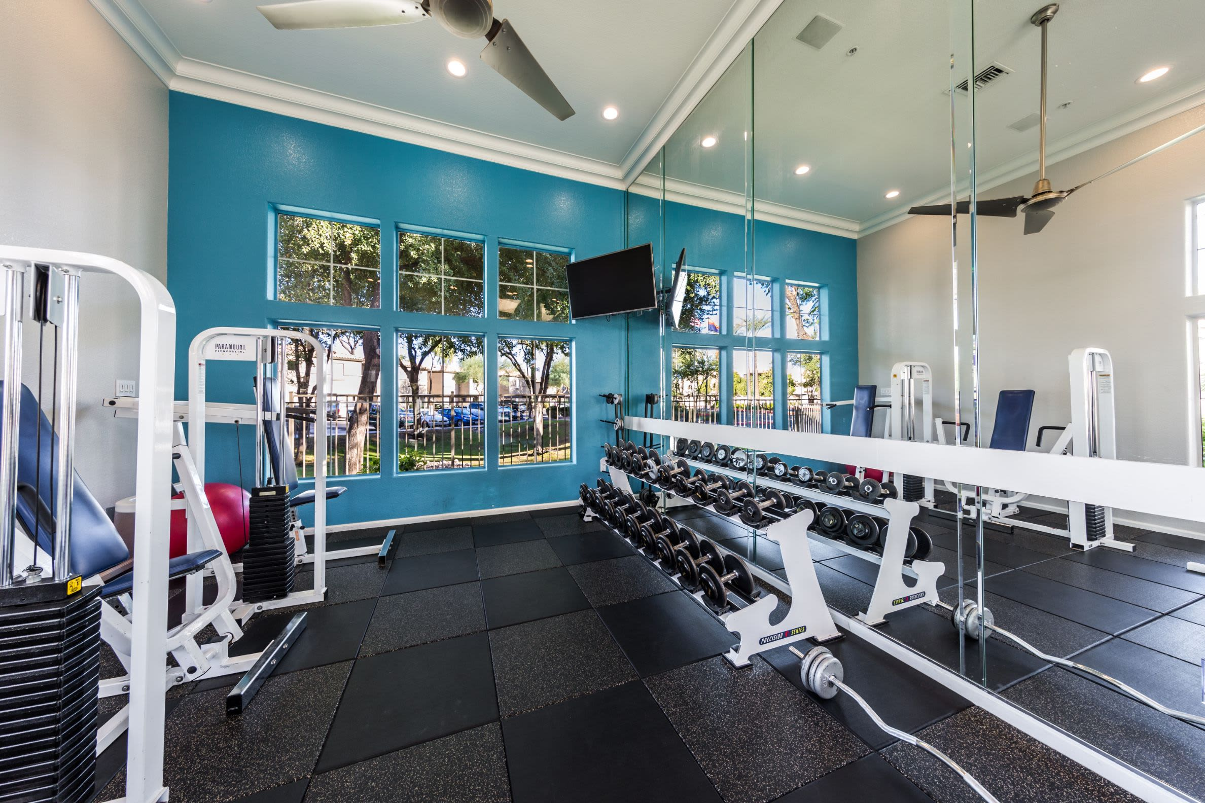 Weights in fitness center at Marquis at Arrowhead in Peoria, Arizona