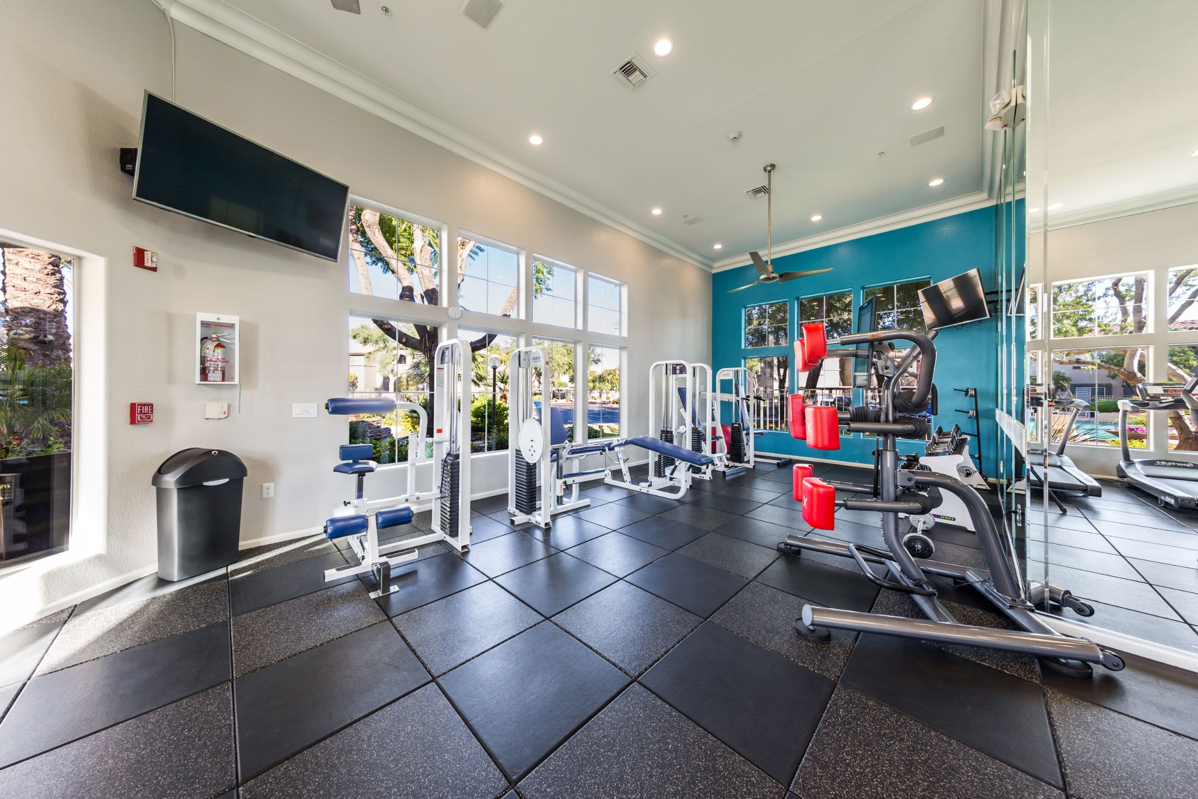 Cable machines in fitness center at Marquis at Arrowhead in Peoria, Arizona