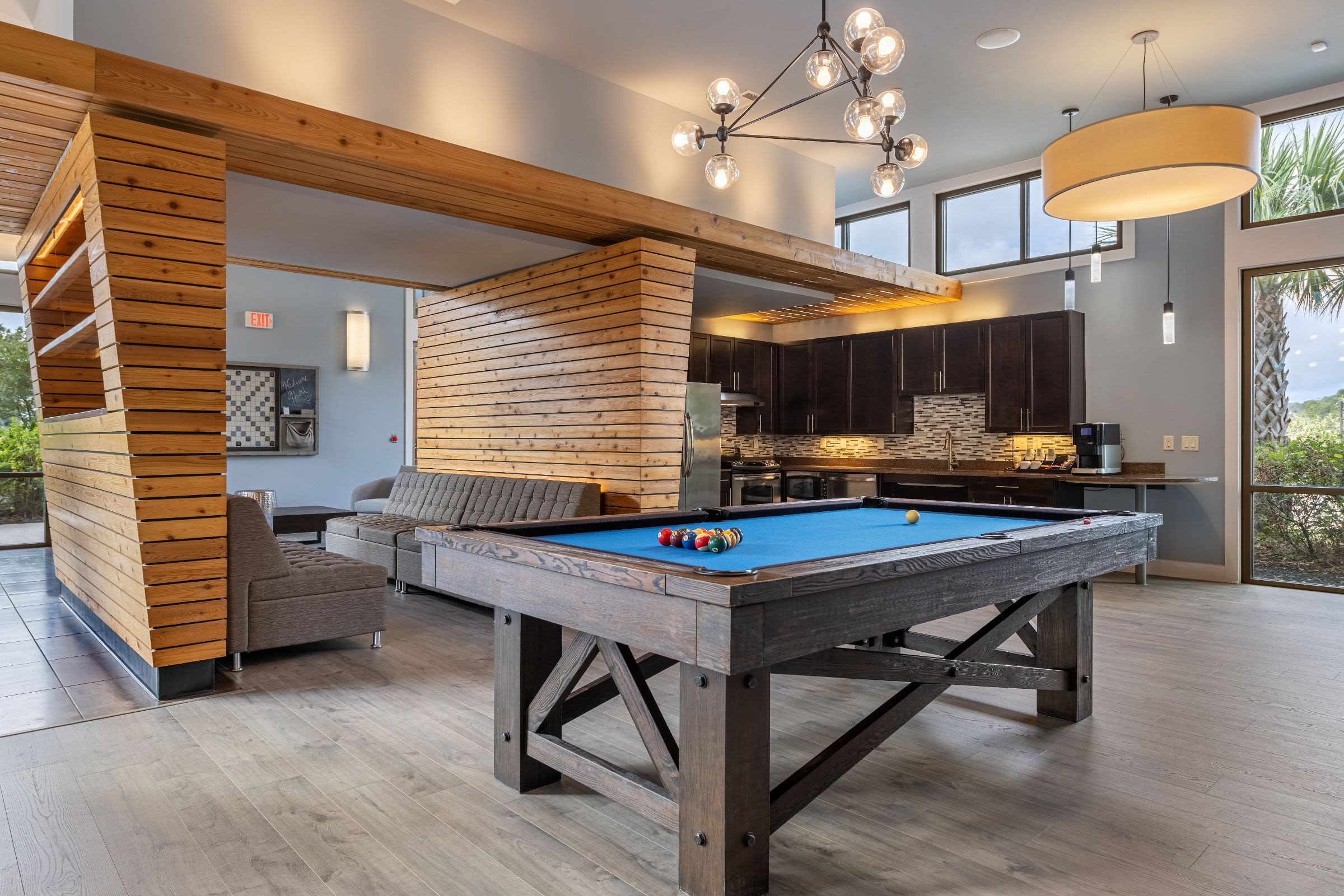 Pool table in clubhouse at Marquis Cresta Bella in San Antonio, Texas