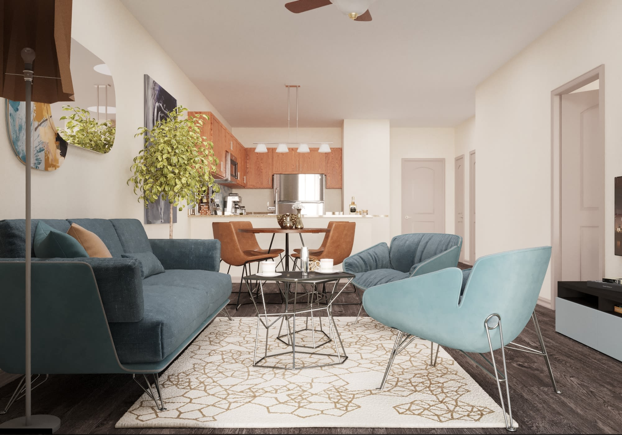 View virtual tour of a 1 bedroom 1 bathroom apartment at Evolv in Mansfield, Texas