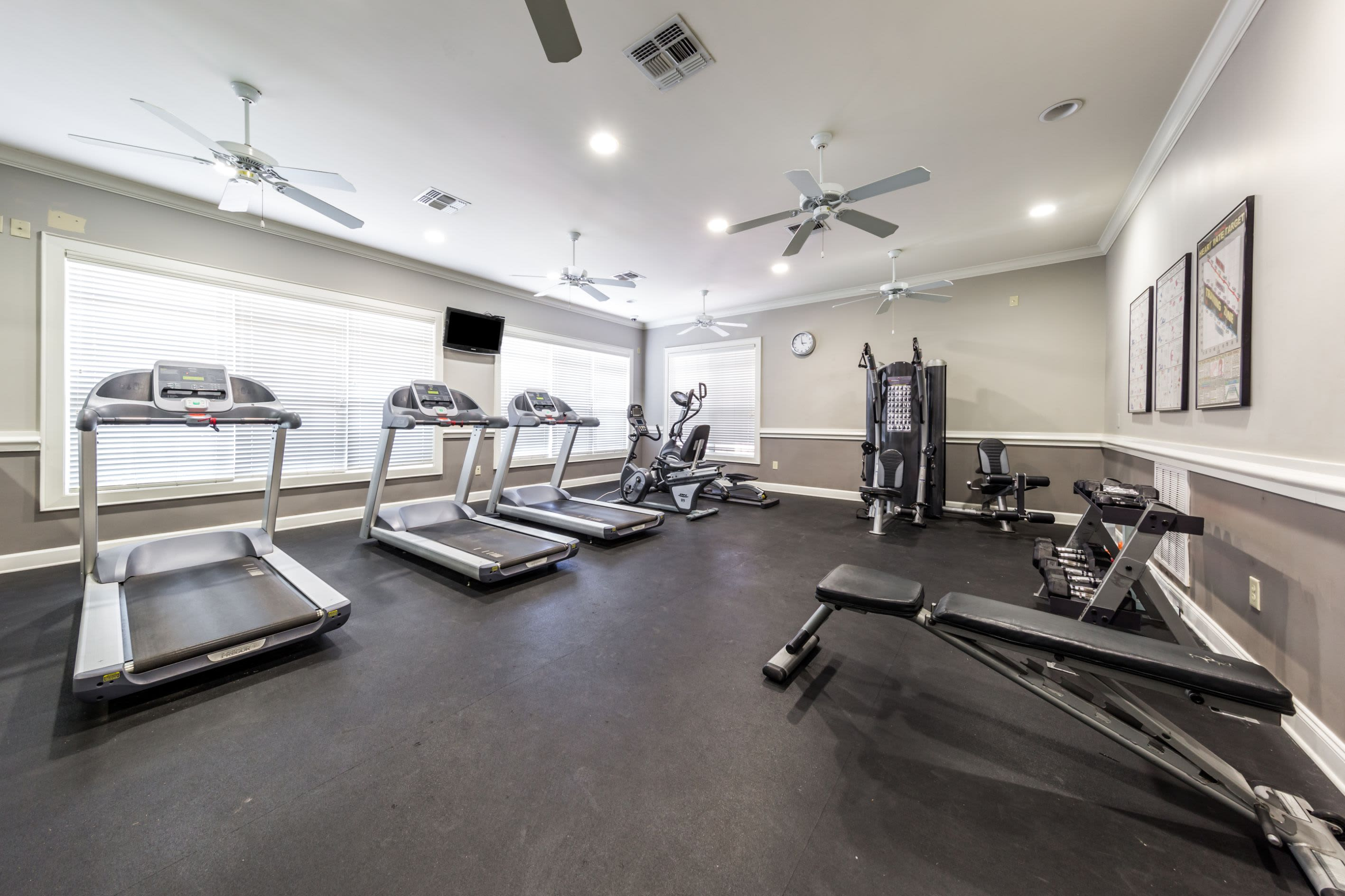 Cardio and weight machines in fitness center at Marquis at The RIM in San Antonio, Texas