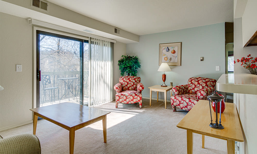 Naturally well-lit living room at Autumn Woods Apartments & Townhomes in Jackson, Michigan