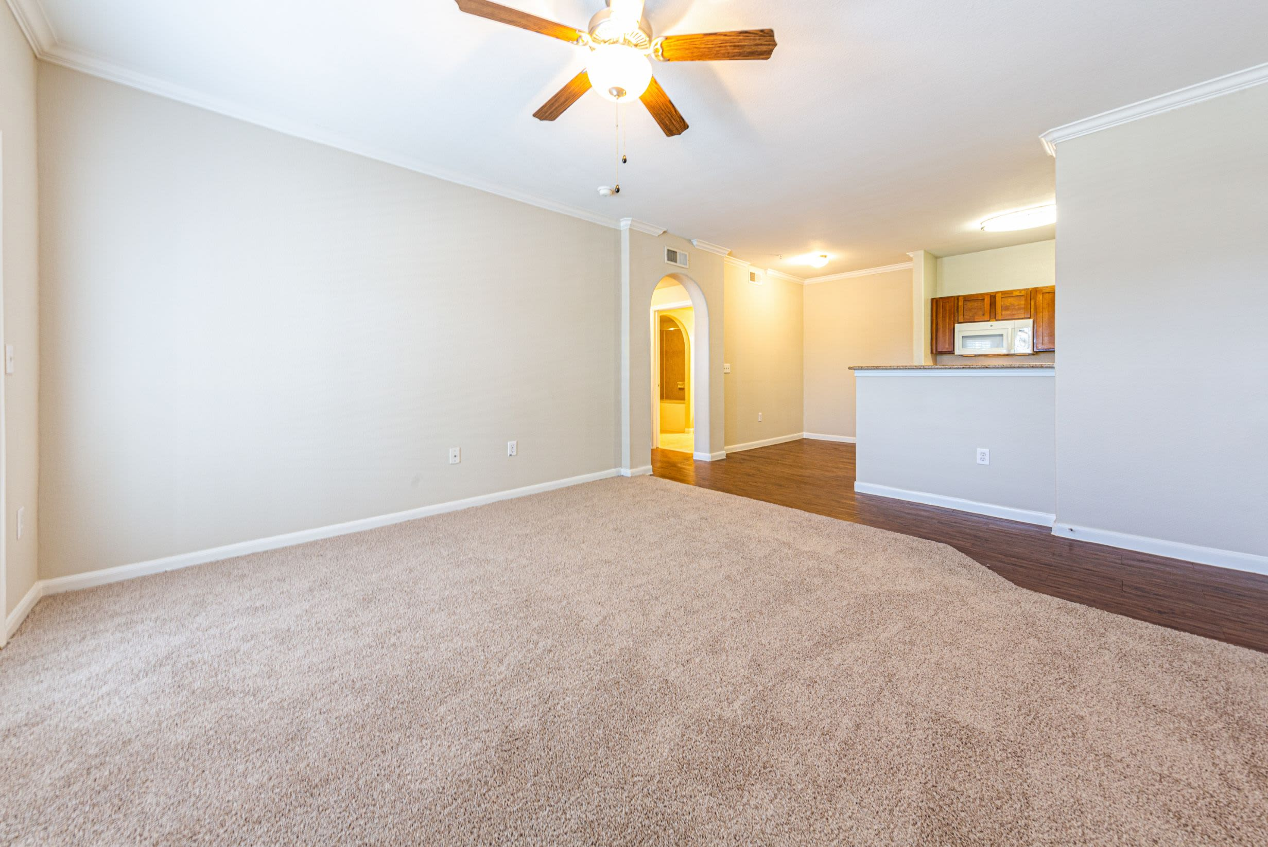 Spacious living room with carpet at Marquis Grand Lakes in Richmond, Texas
