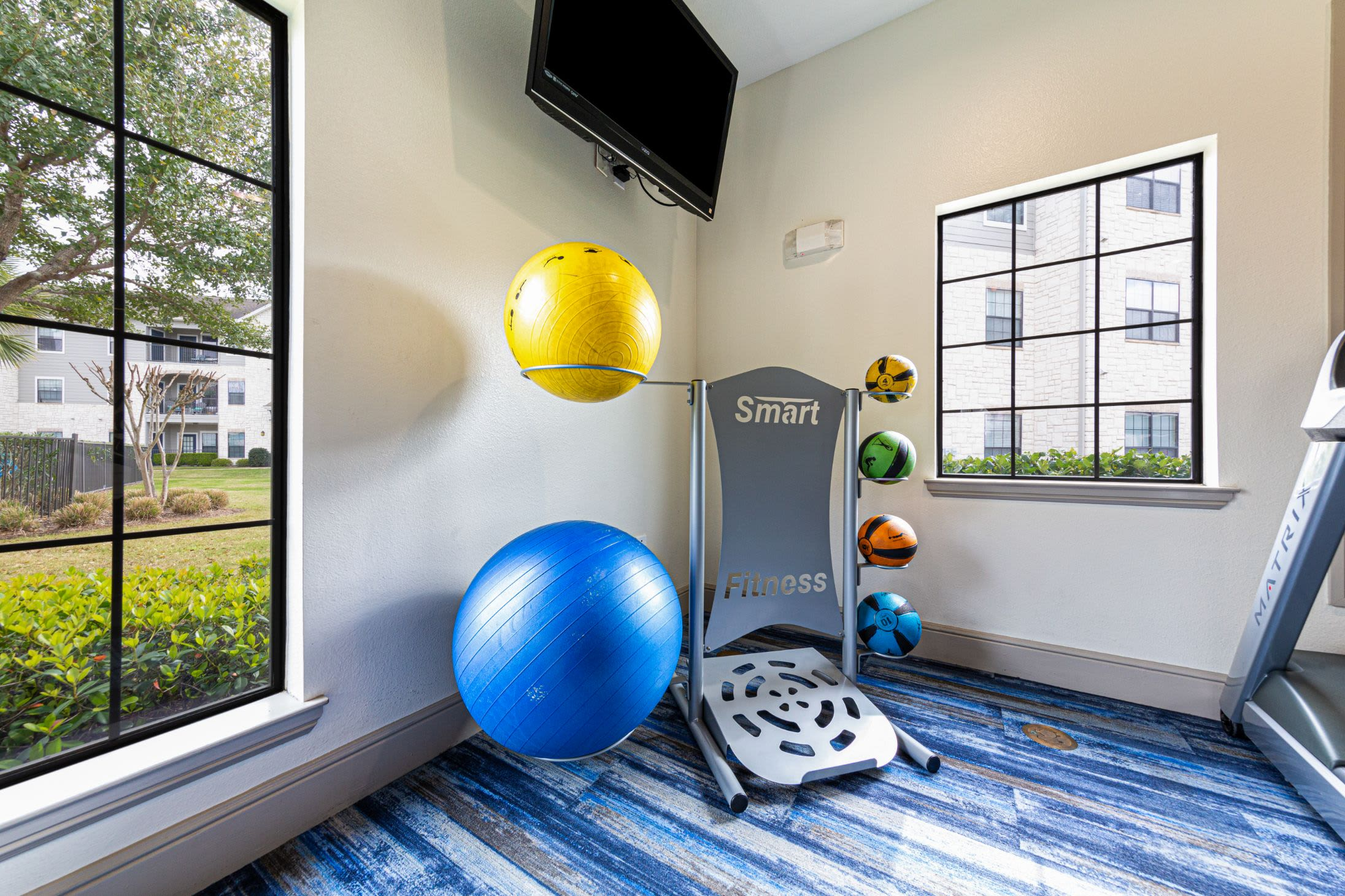 Medicine balls in fitness center at Marquis Grand Lakes in Richmond, Texas