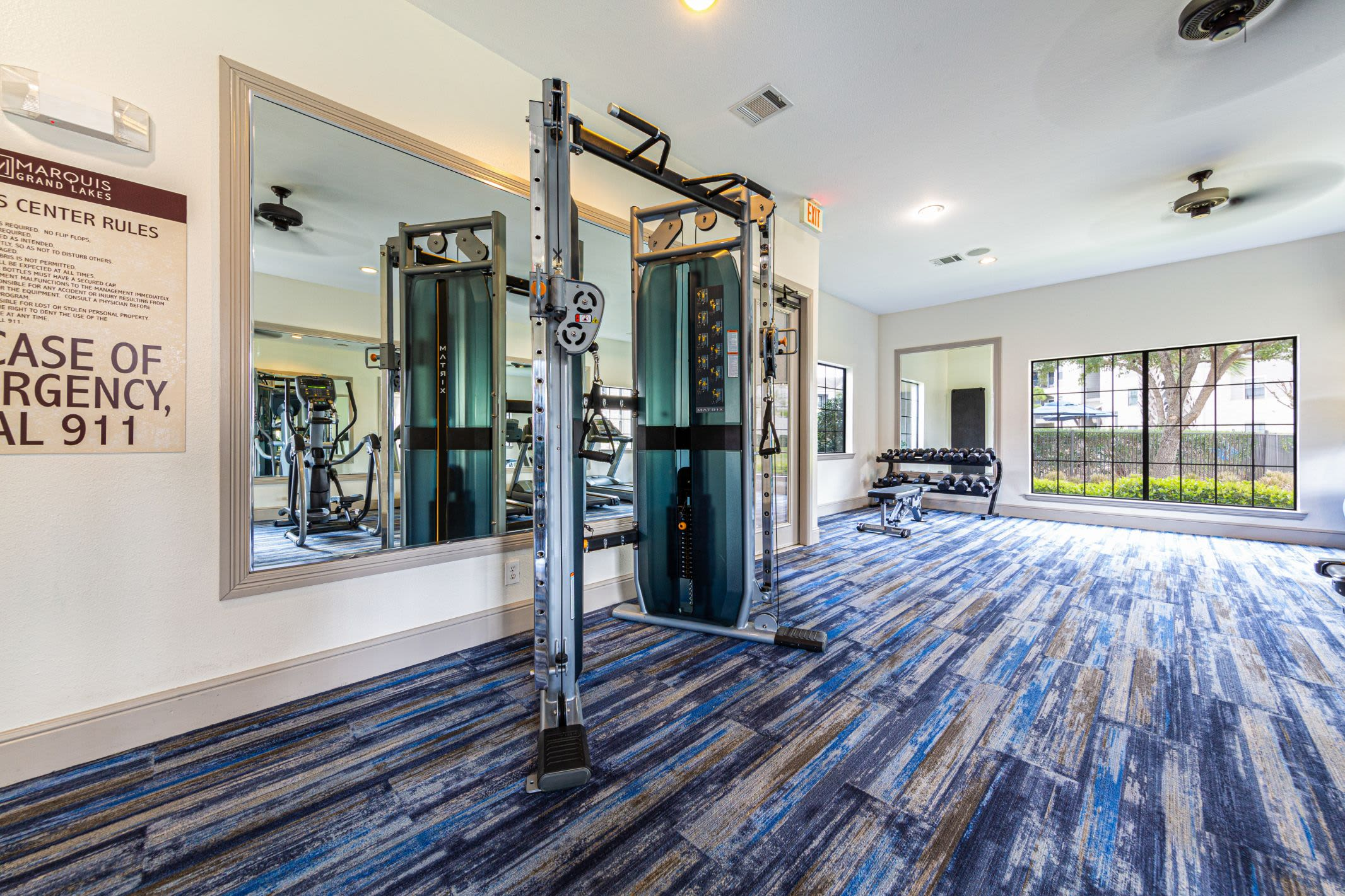 Cable machine in fitness center at Marquis Grand Lakes in Richmond, Texas