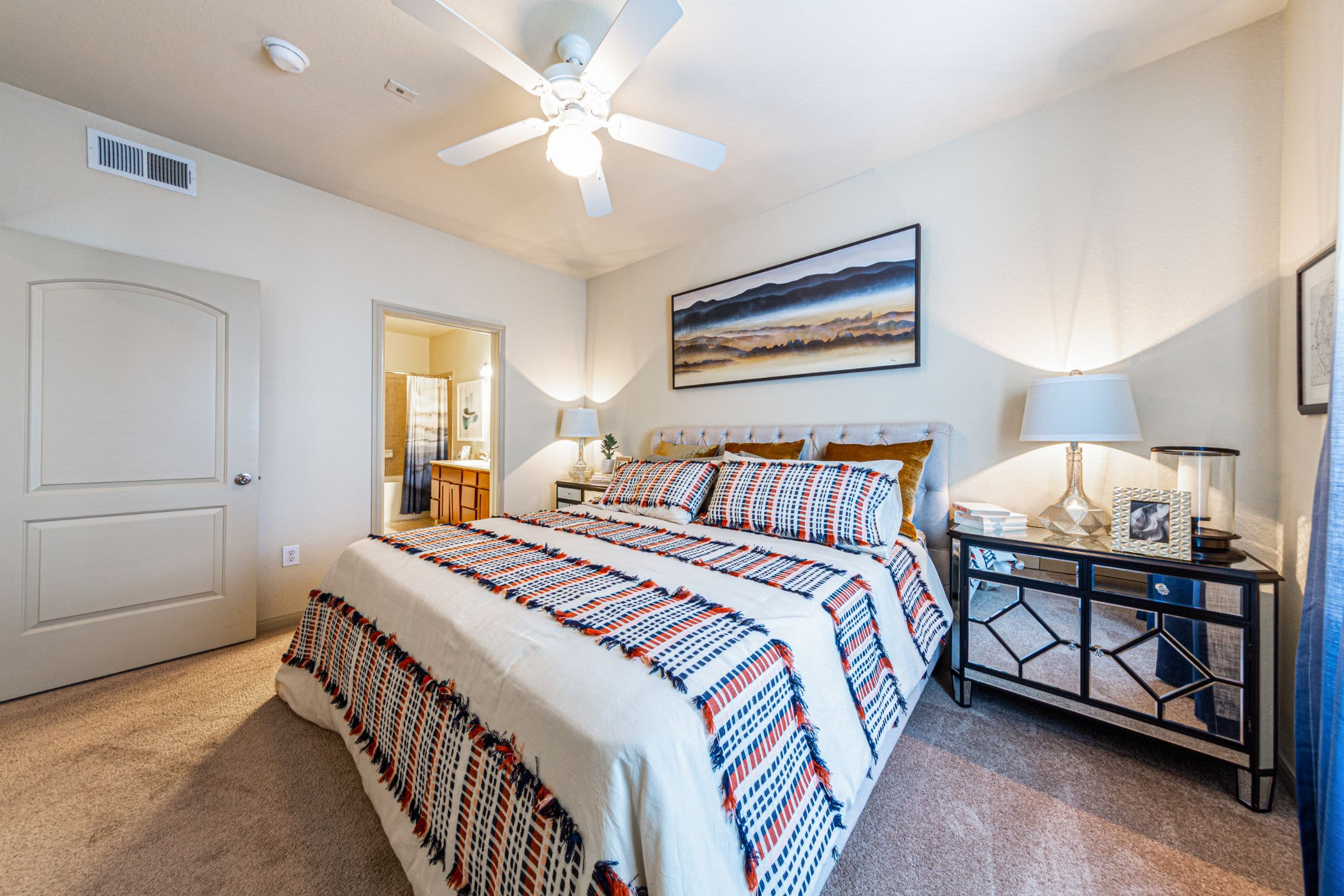 Bright bedroom at Marquis Grand Lakes in Richmond, Texas
