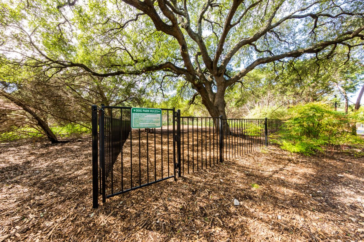 Dog park entrance at Marquis at Caprock Canyon in Austin, Texas