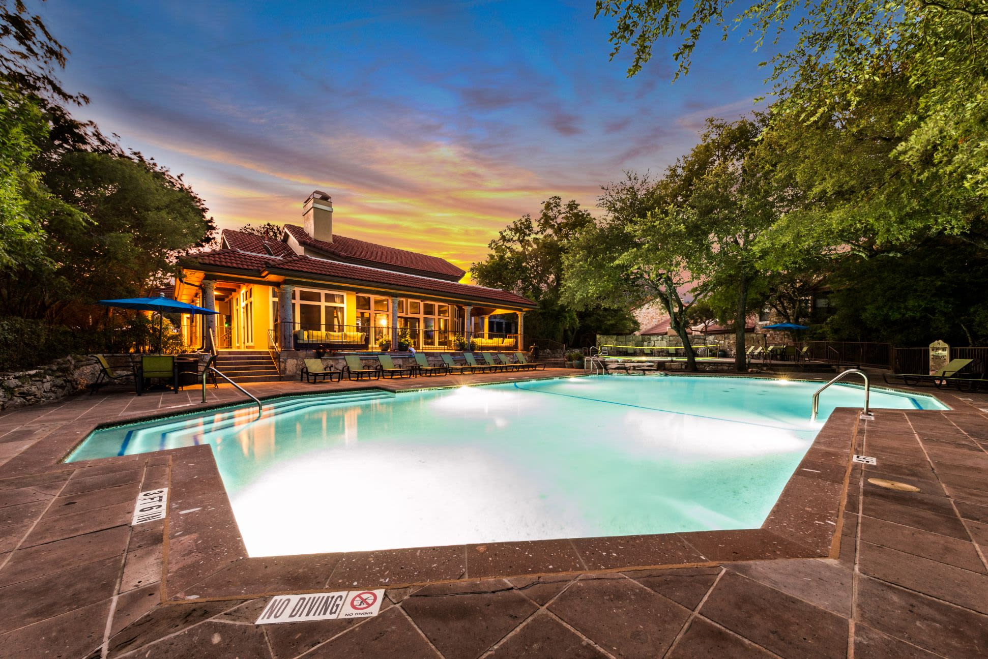 Pool at dusk at Marquis at Caprock Canyon in Austin, Texas