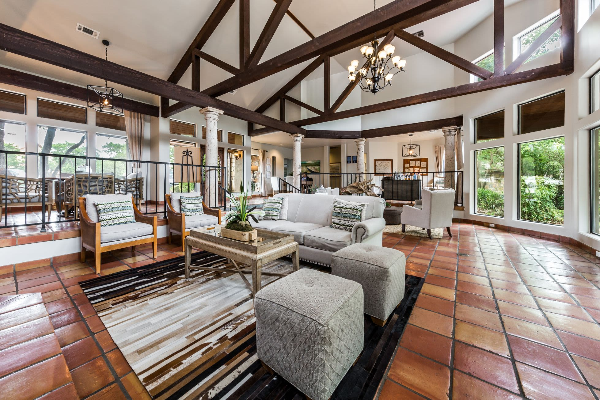 Clubhouse with high ceilings at Marquis at Caprock Canyon in Austin, Texas