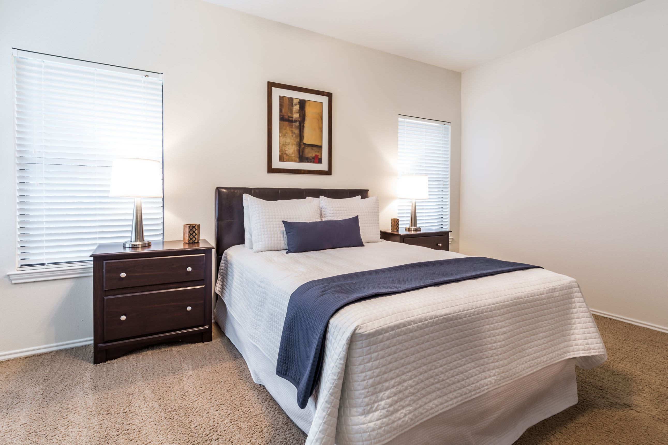 Bedroom with carpet floors at Marquis at Caprock Canyon in Austin, Texas
