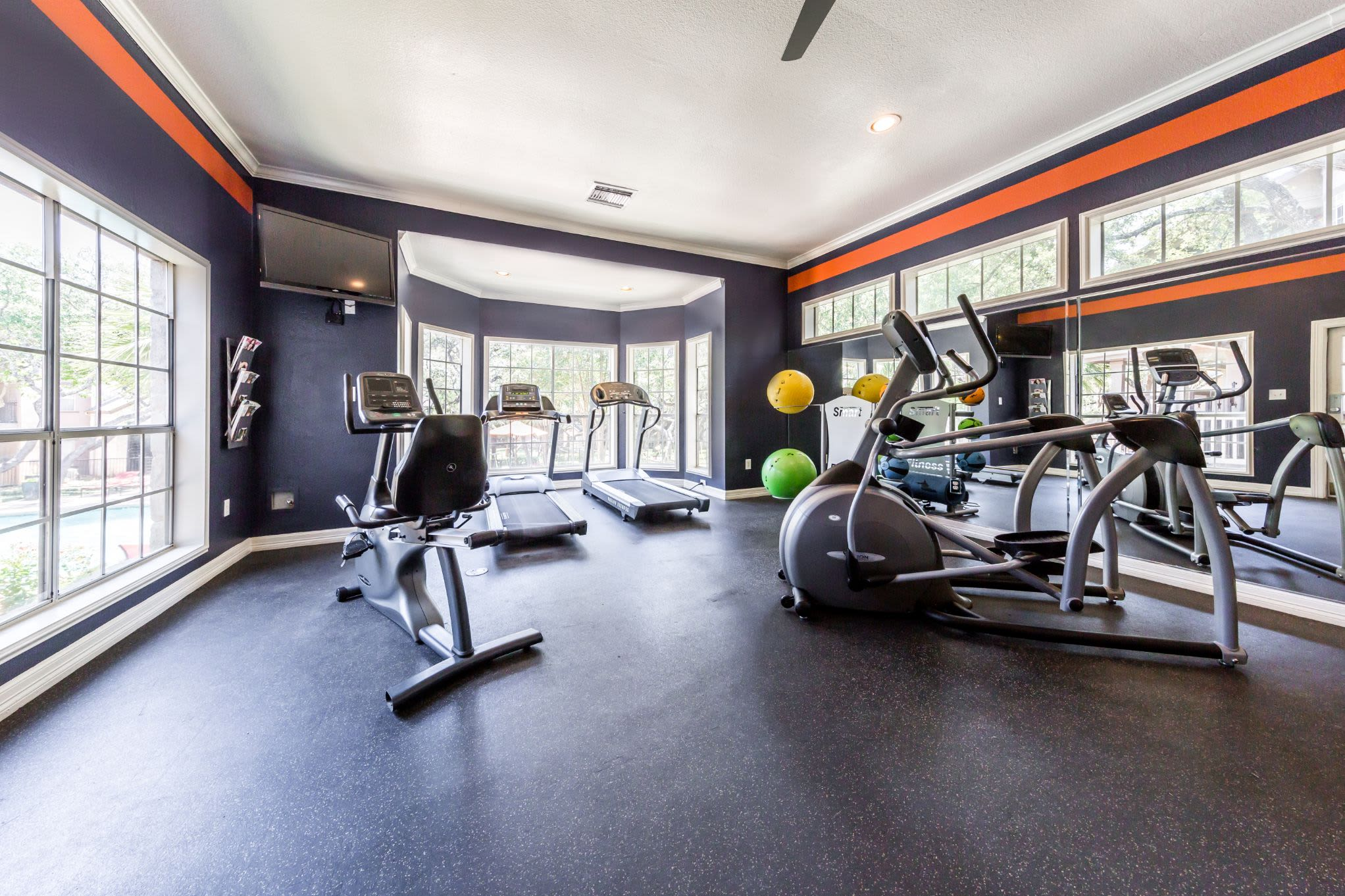Cardio machines in gym at Marquis at Deerfield in San Antonio, Texas
