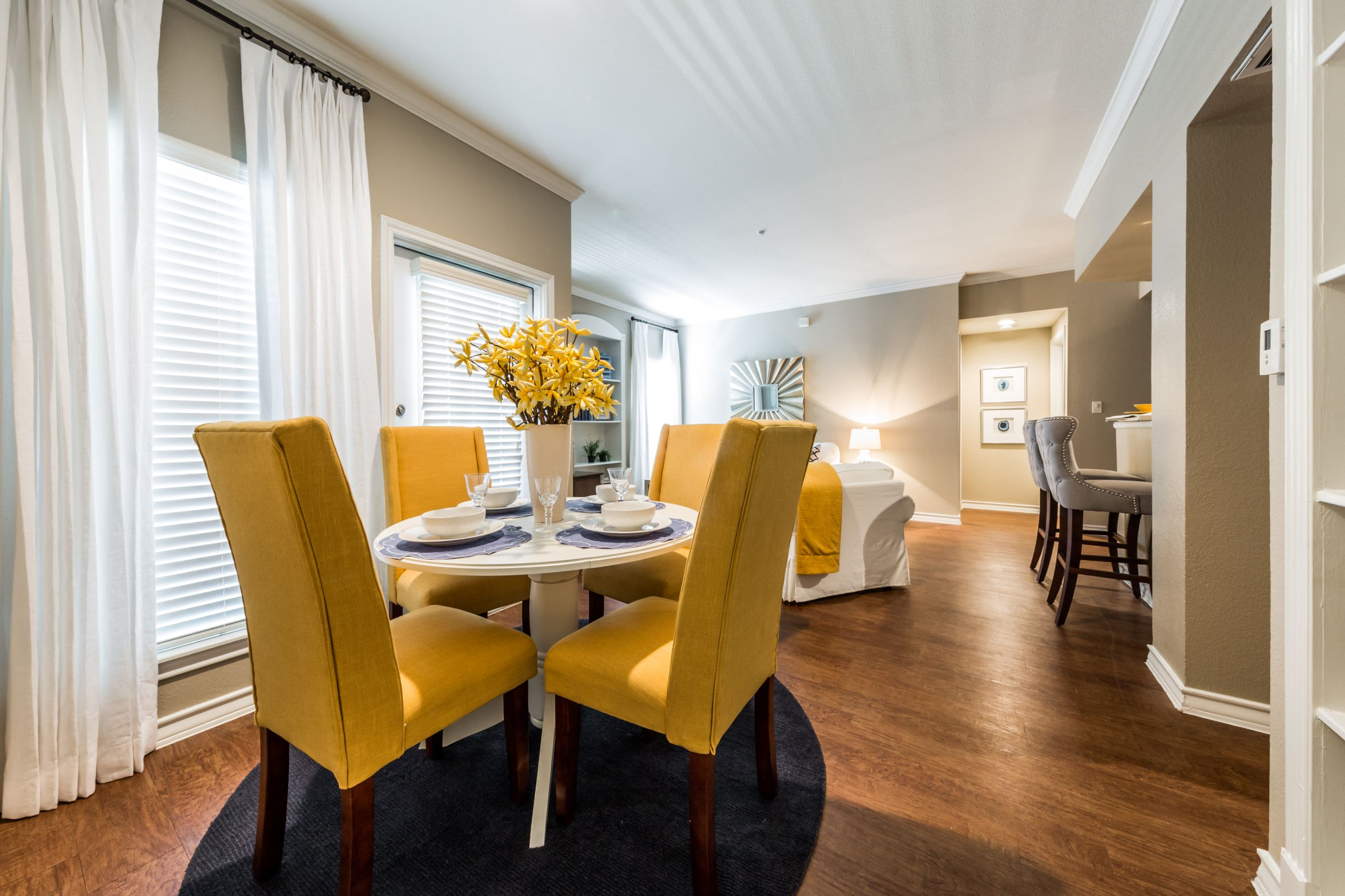 Bright dining area at Marquis at Deerfield in San Antonio, Texas
