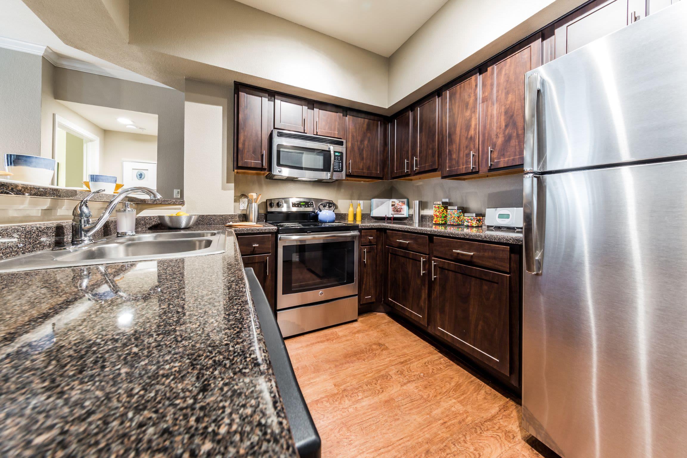 Modern kitchen at Marquis at Deerfield in San Antonio, Texas
