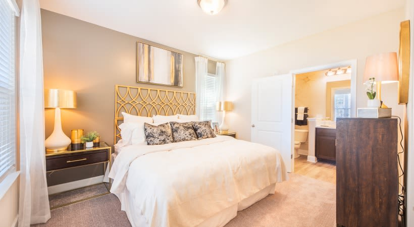 Spacious bedroom and bathroom layout at The Isaac in Summerville, South Carolina