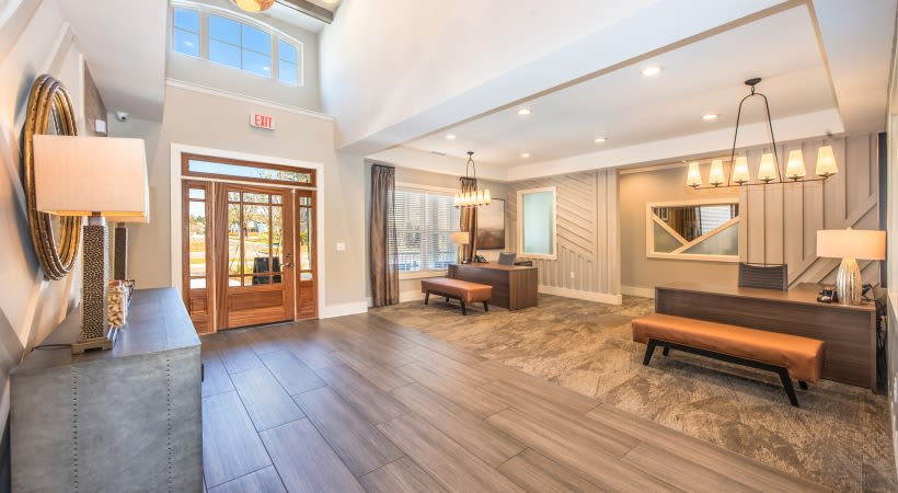 Lobby area in clubhouse for residents to mingle at The Isaac in Summerville, South Carolina