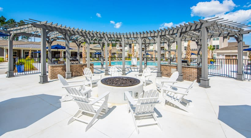 Large pool and fire pit at The Isaac in Summerville, South Carolina