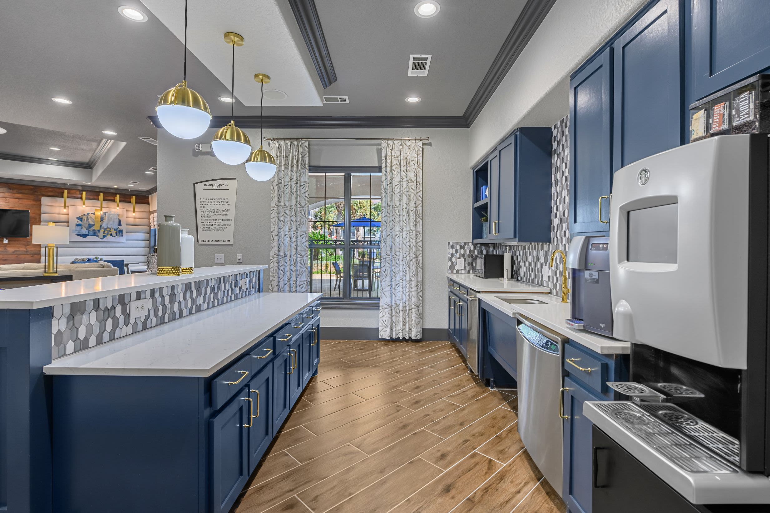 Kitchenette in community clubhouse at Marquis Lakeline Station in Austin, Texas