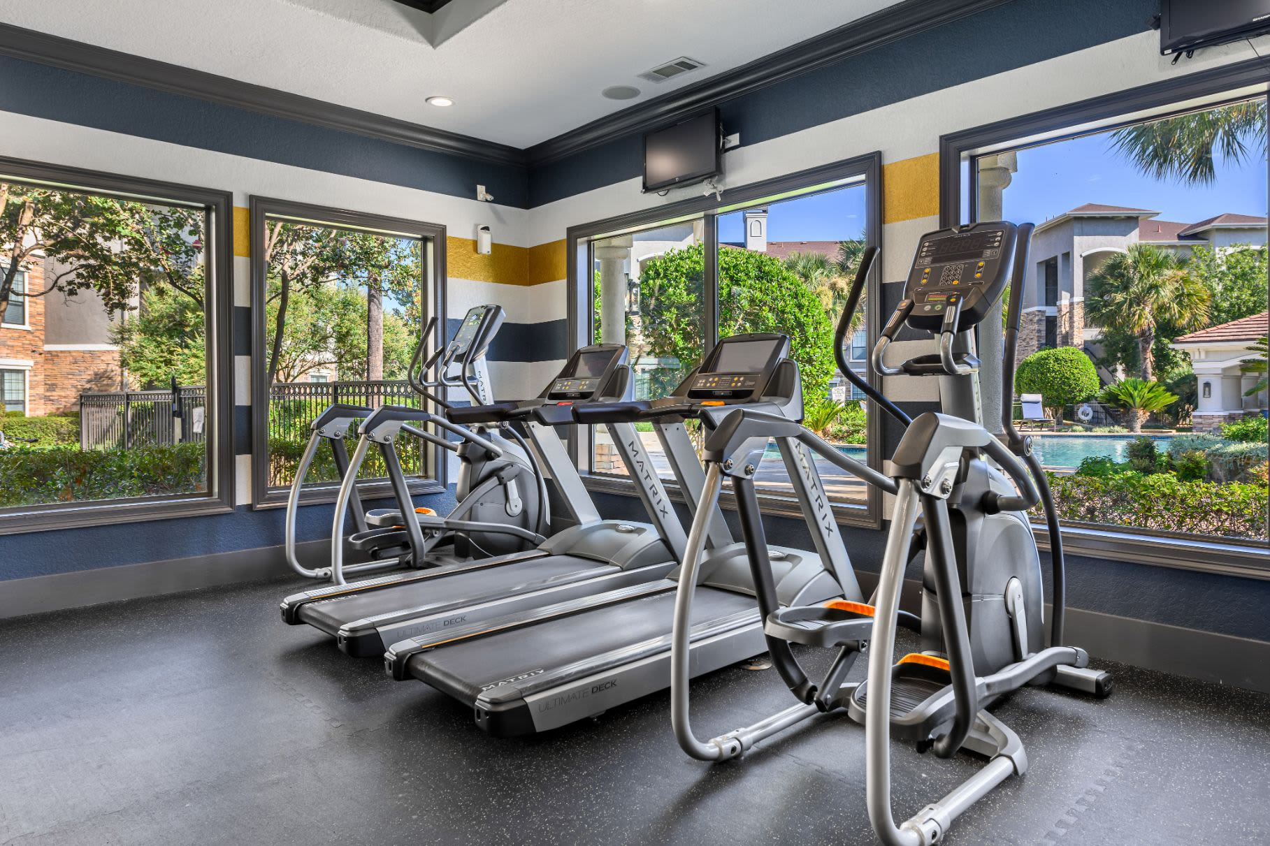 Treadmills in the fitness center at Marquis Lakeline Station in Austin, Texas