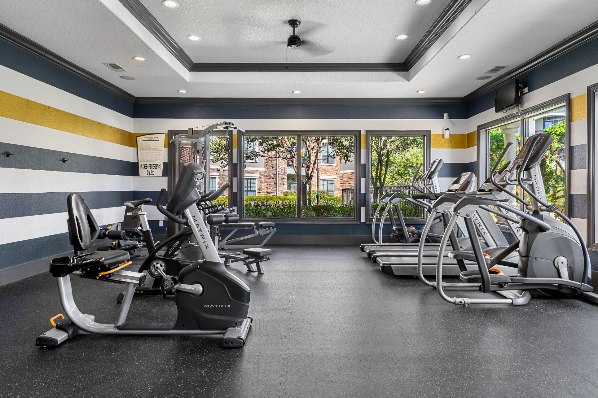 Cardio machines in fitness center at Marquis Lakeline Station in Austin, Texas