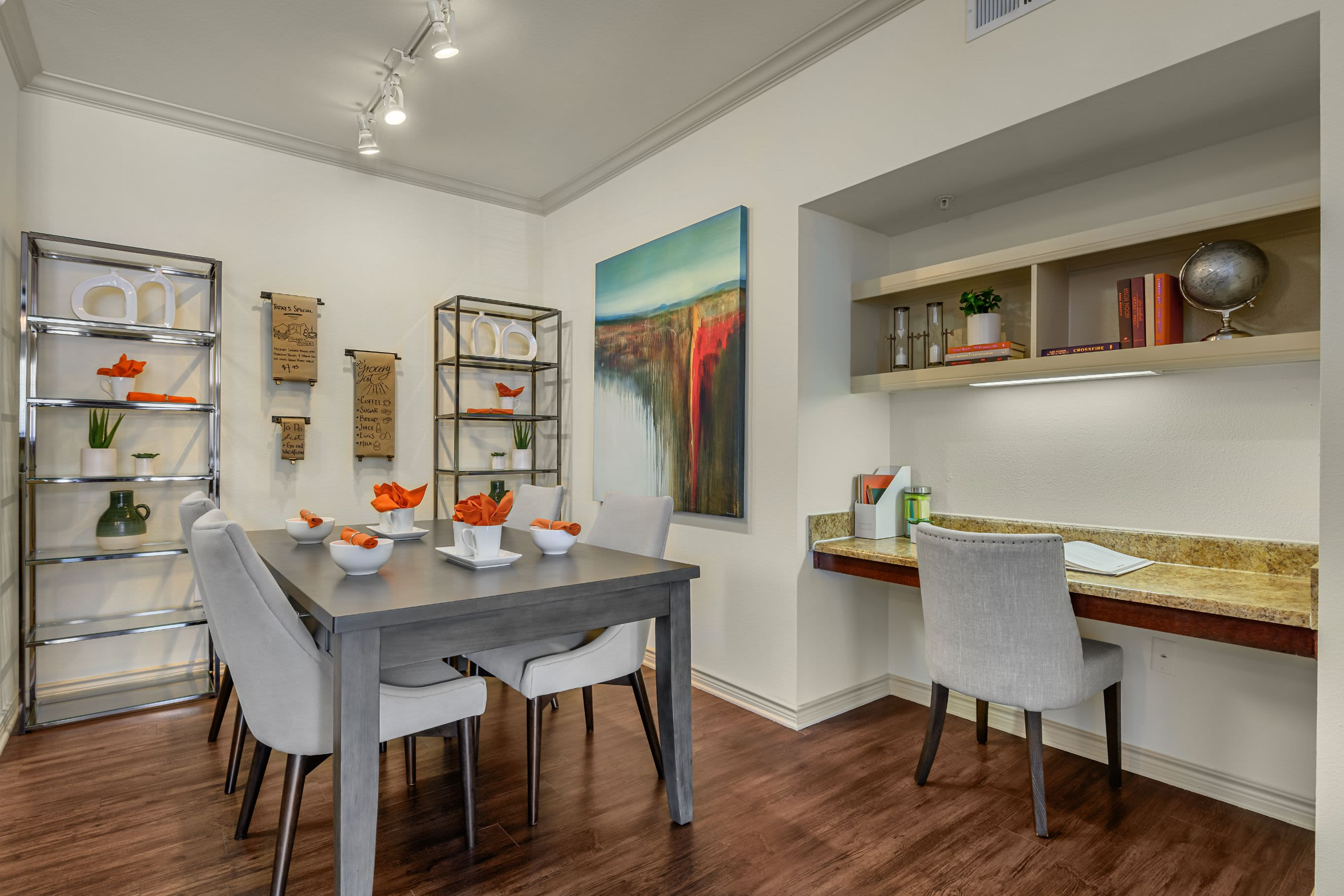 Bright dining area and built in desk at Marquis Lakeline Station in Austin, Texas