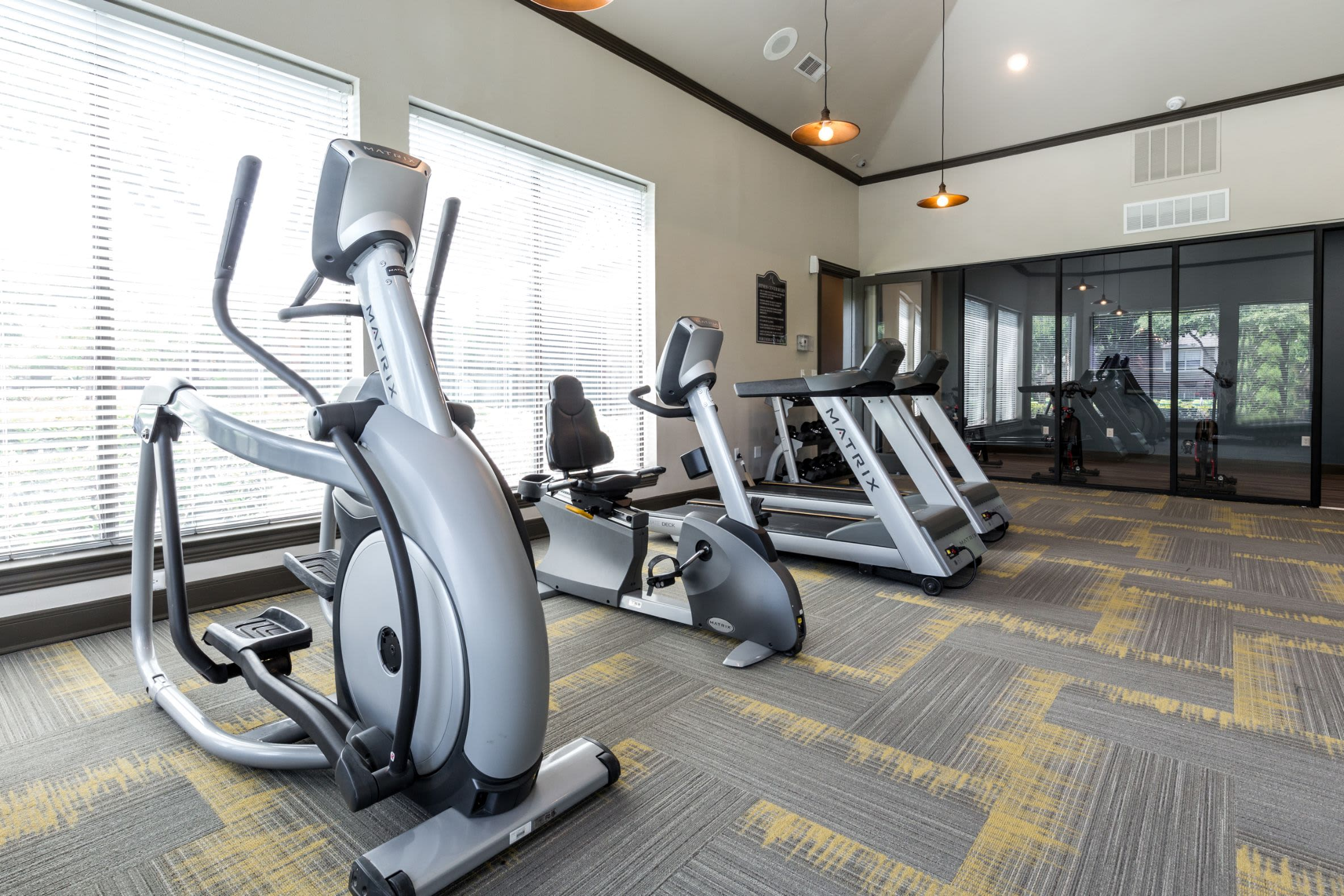 Elliptical machines in fitness center at Marquis at Stonebriar in Frisco, Texas