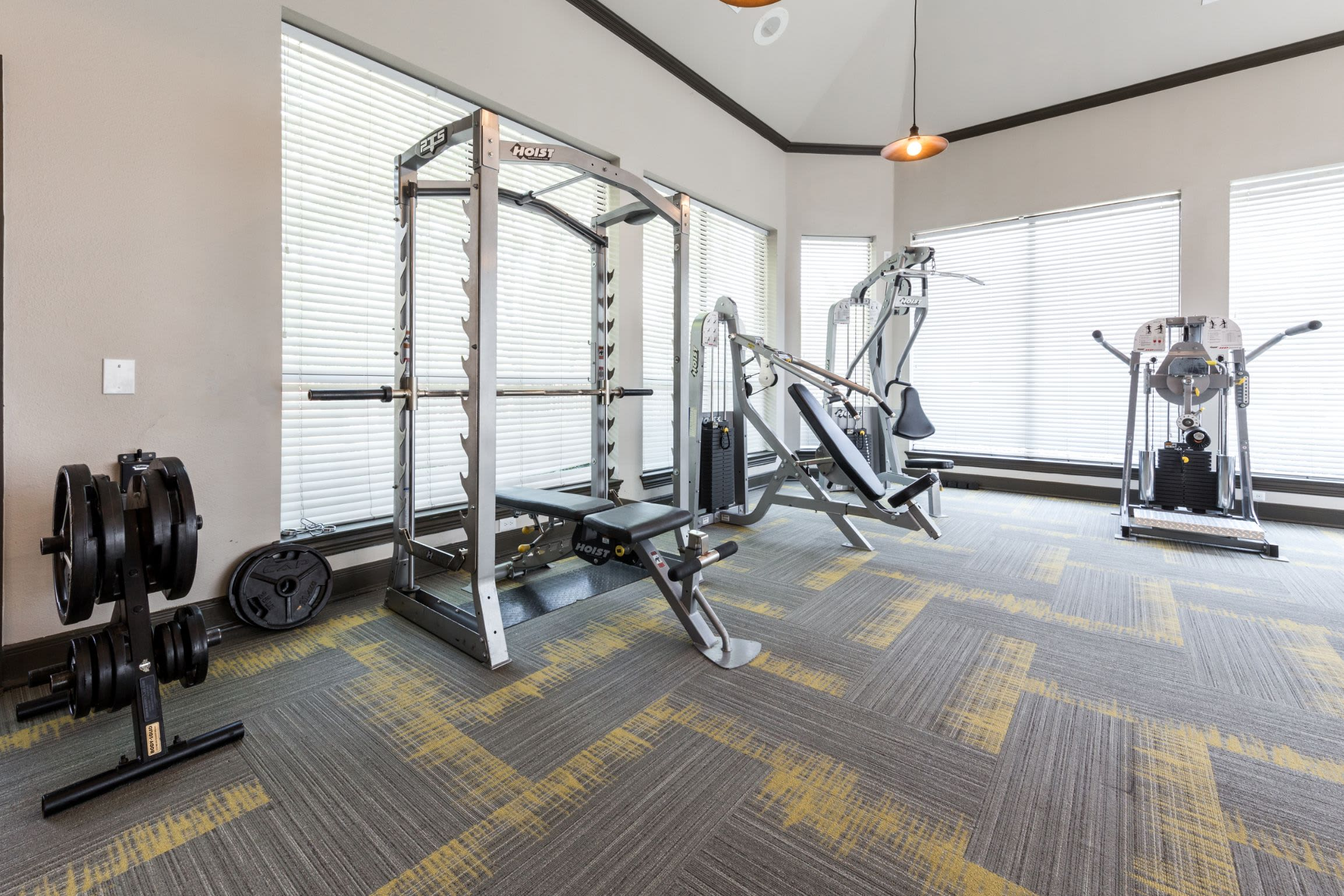 Weight machines in fitness center at Marquis at Stonebriar in Frisco, Texas