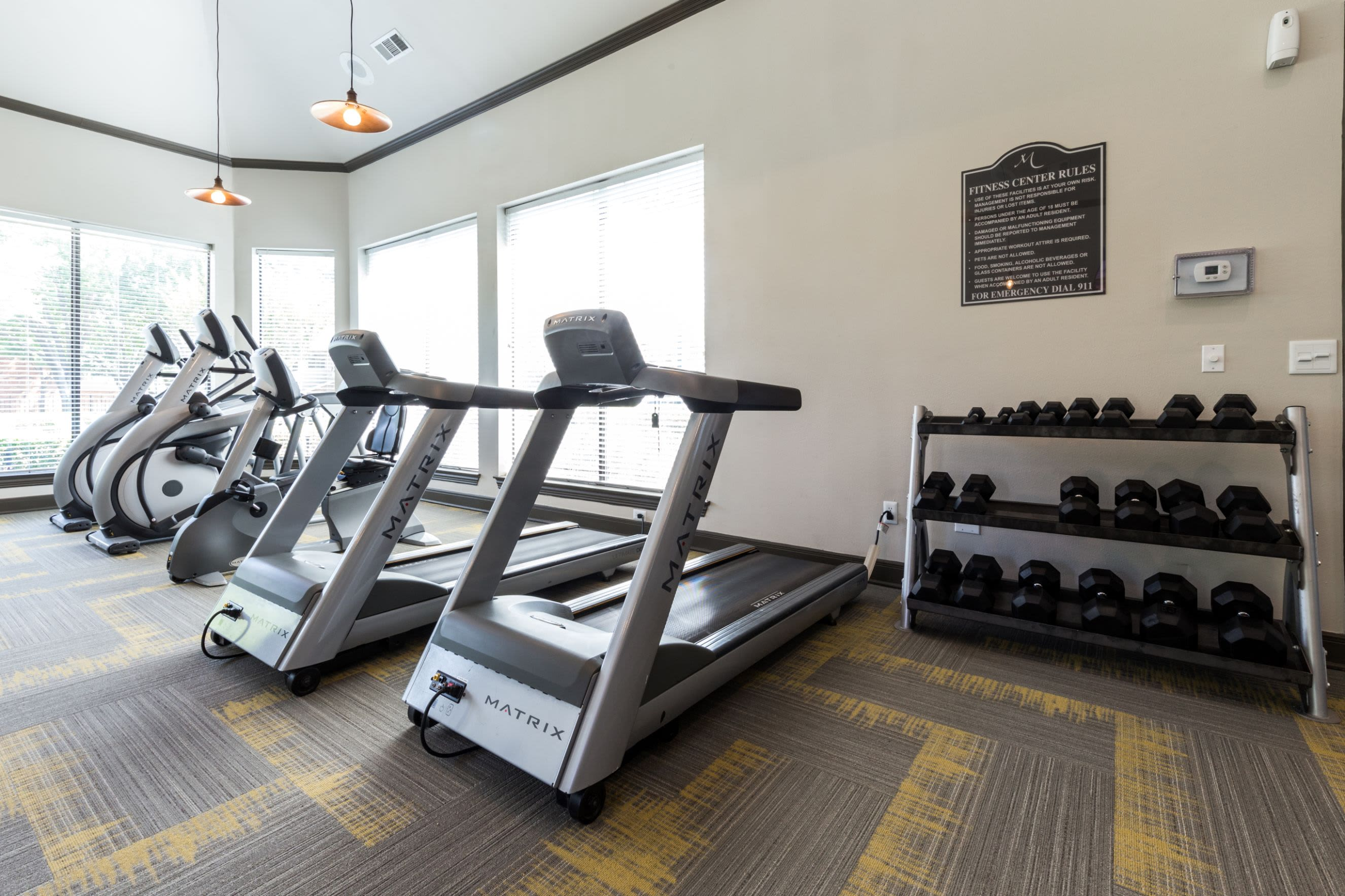Cardio machines in the fitness center at Marquis at Stonebriar in Frisco, Texas