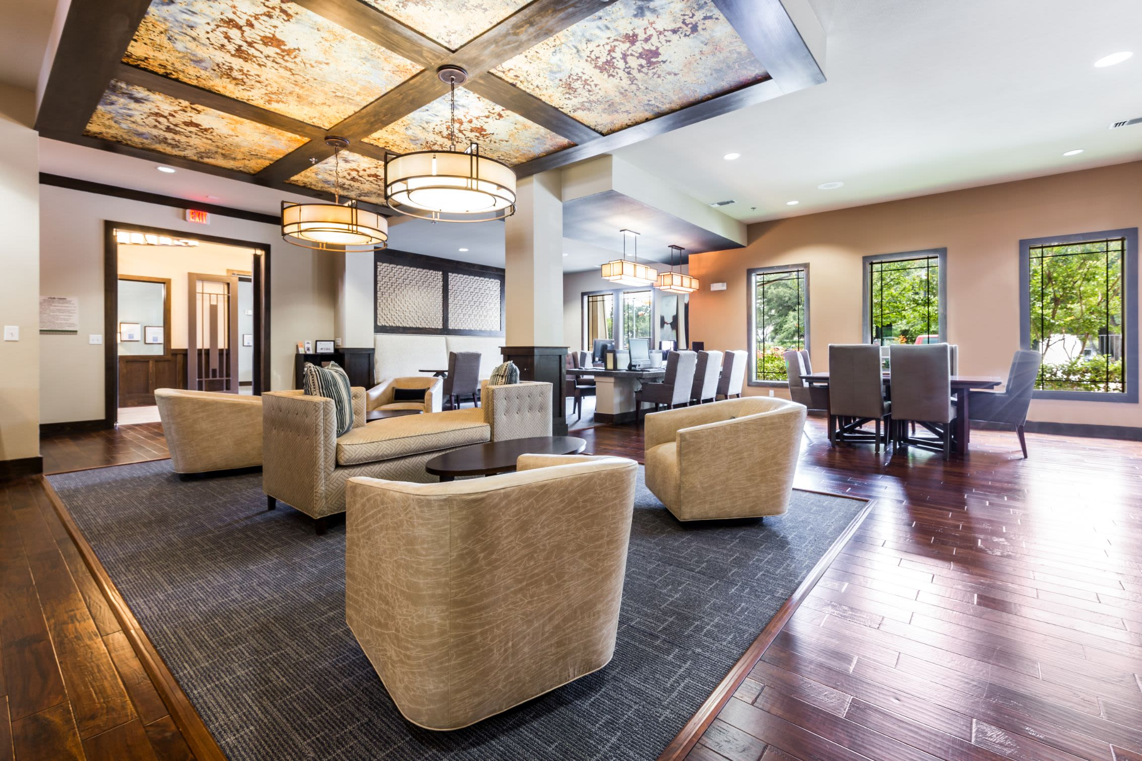 Elegant seating in the lobby at Marquis on Lakeline in Cedar Park, Texas