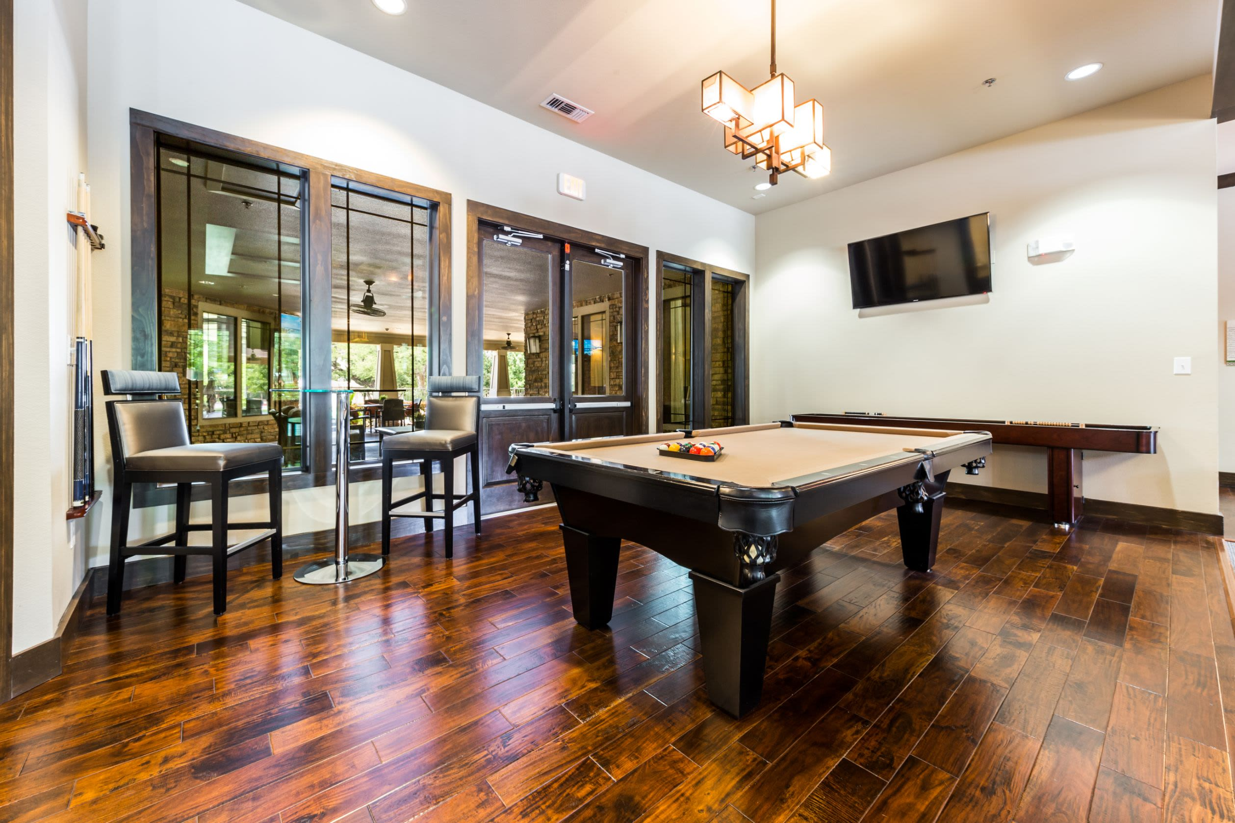 Pool table in the clubhouse at Marquis on Lakeline in Cedar Park, Texas