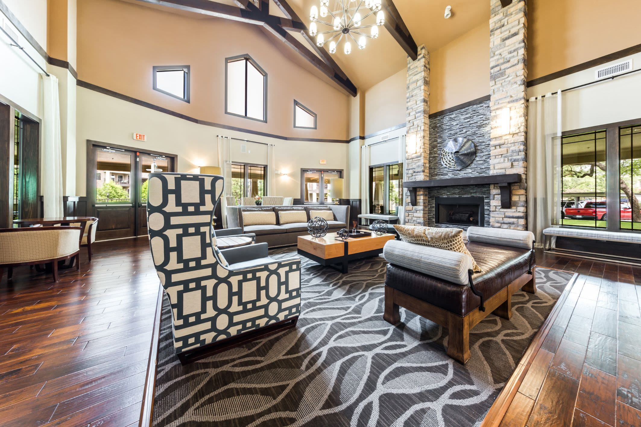 Lobby entrance with sitting area at Marquis on Lakeline in Cedar Park, Texas
