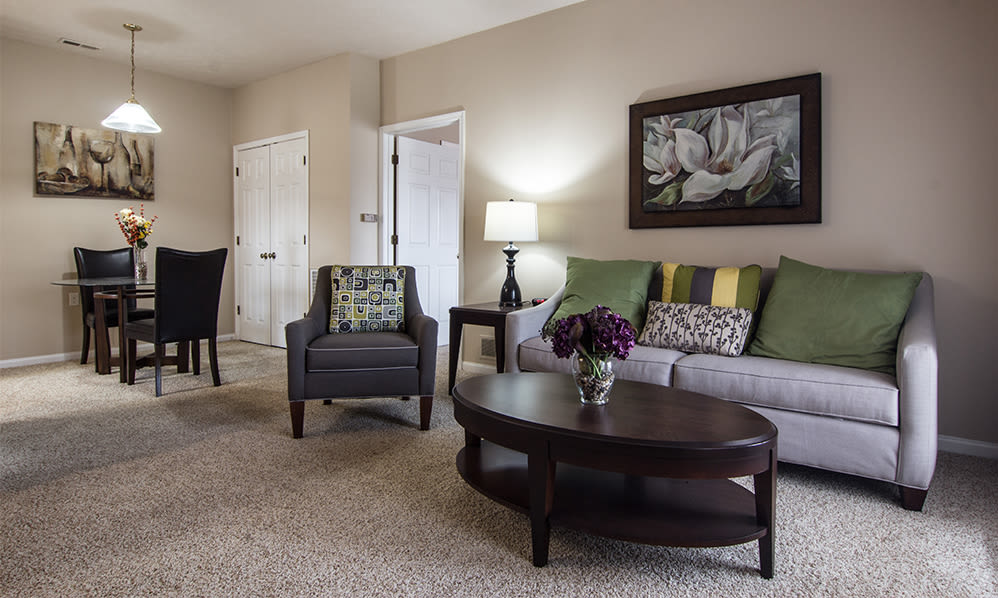 Living room at Avalon at Northbrook Apartments & Townhomes in Fort Wayne, Indiana