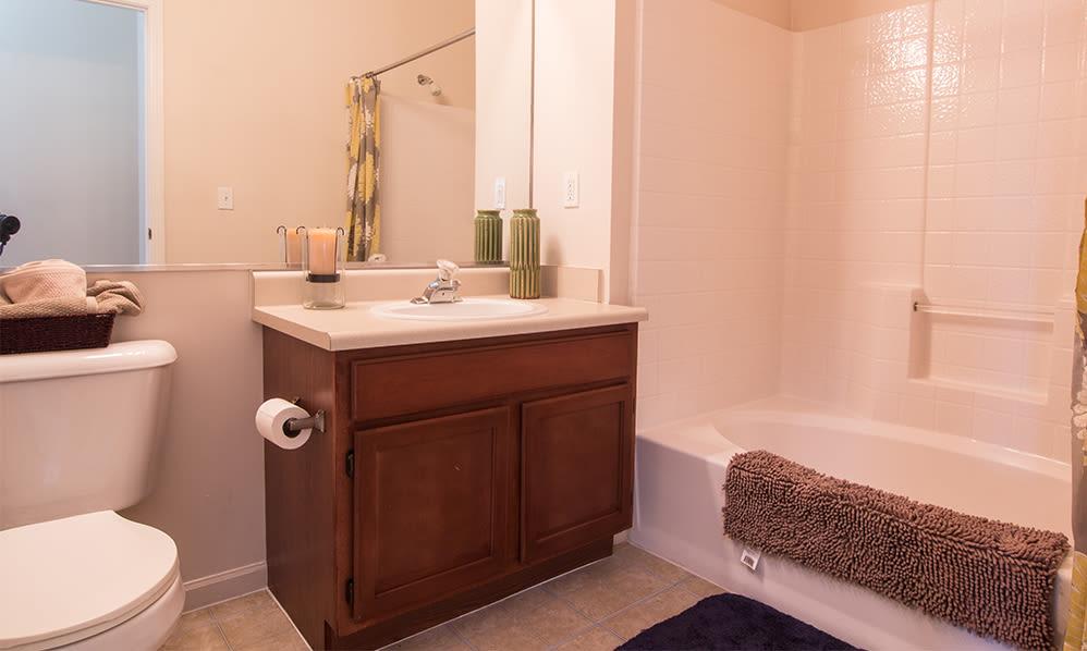 Spacious bathroom at Avalon at Northbrook Apartments & Townhomes in Fort Wayne, Indiana