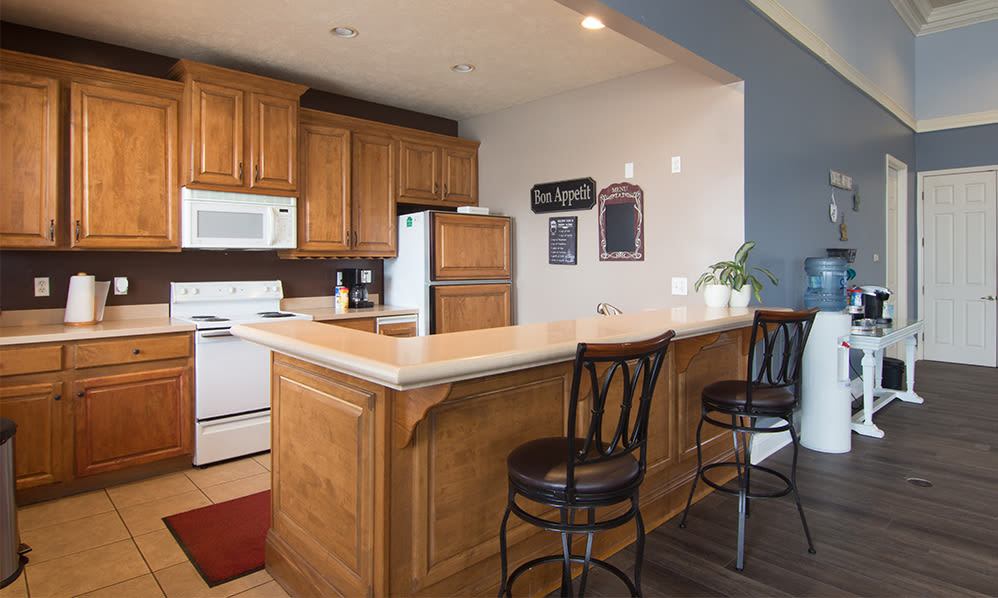Great for entertaining clubhouse at Avalon at Northbrook Apartments & Townhomes in Fort Wayne, Indiana