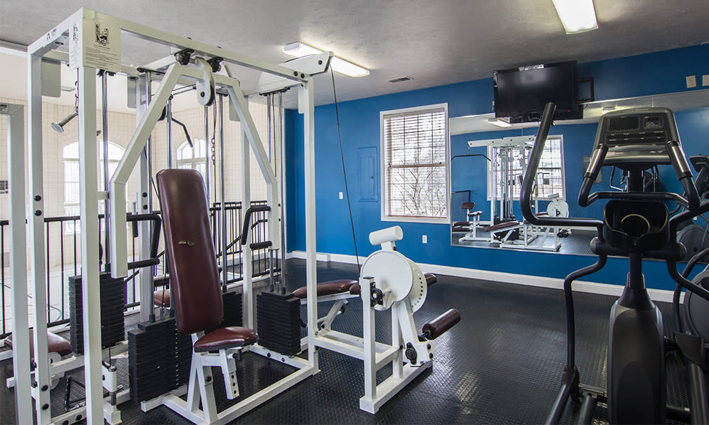 Fully-equipped fitness center at Avalon at Northbrook Apartments & Townhomes in Fort Wayne, Indiana