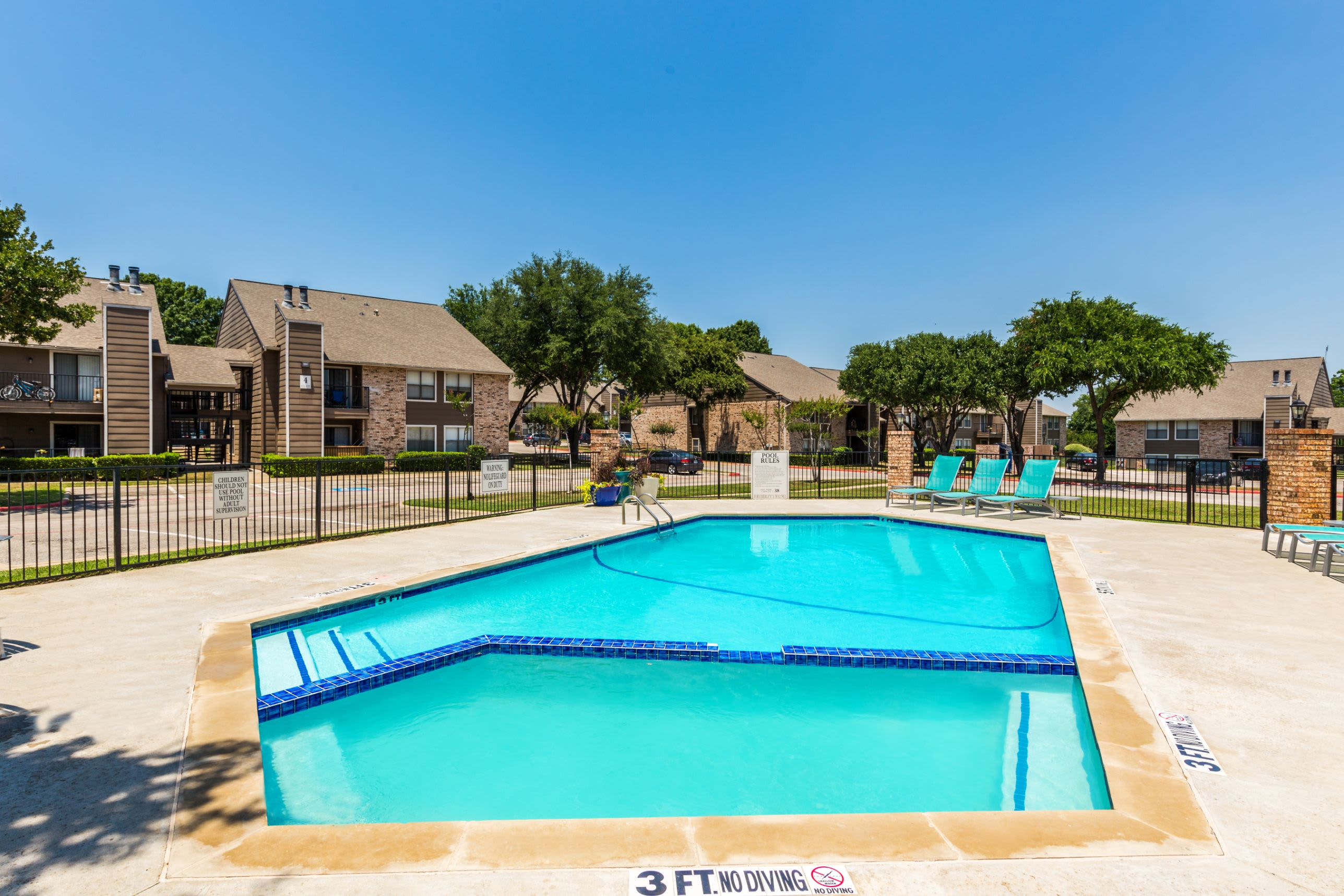 Shallow end of the pool at The Park at Flower Mound in Flower Mound, Texas