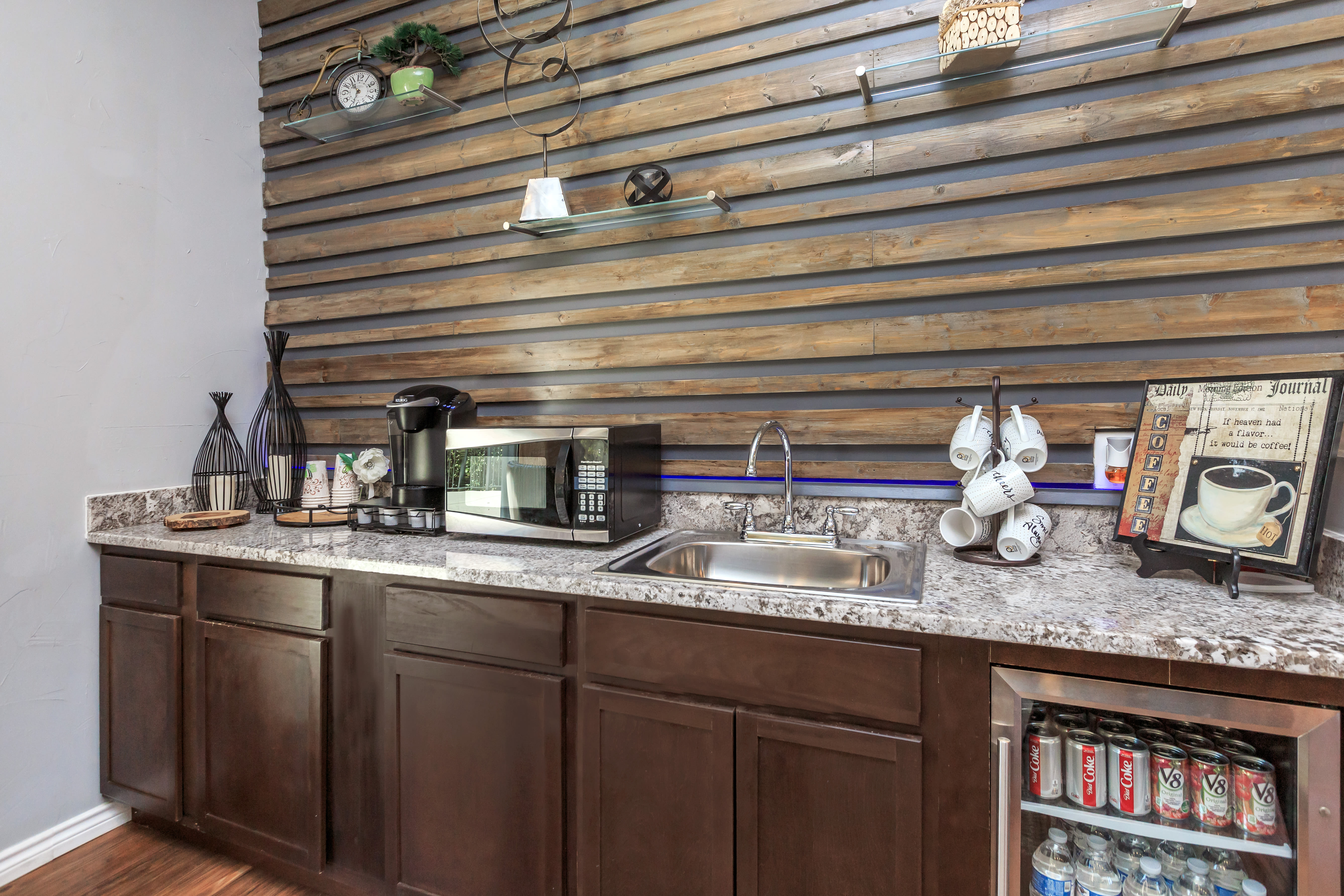 Beverage bar at Windmill Terrace in Bedford, Texas