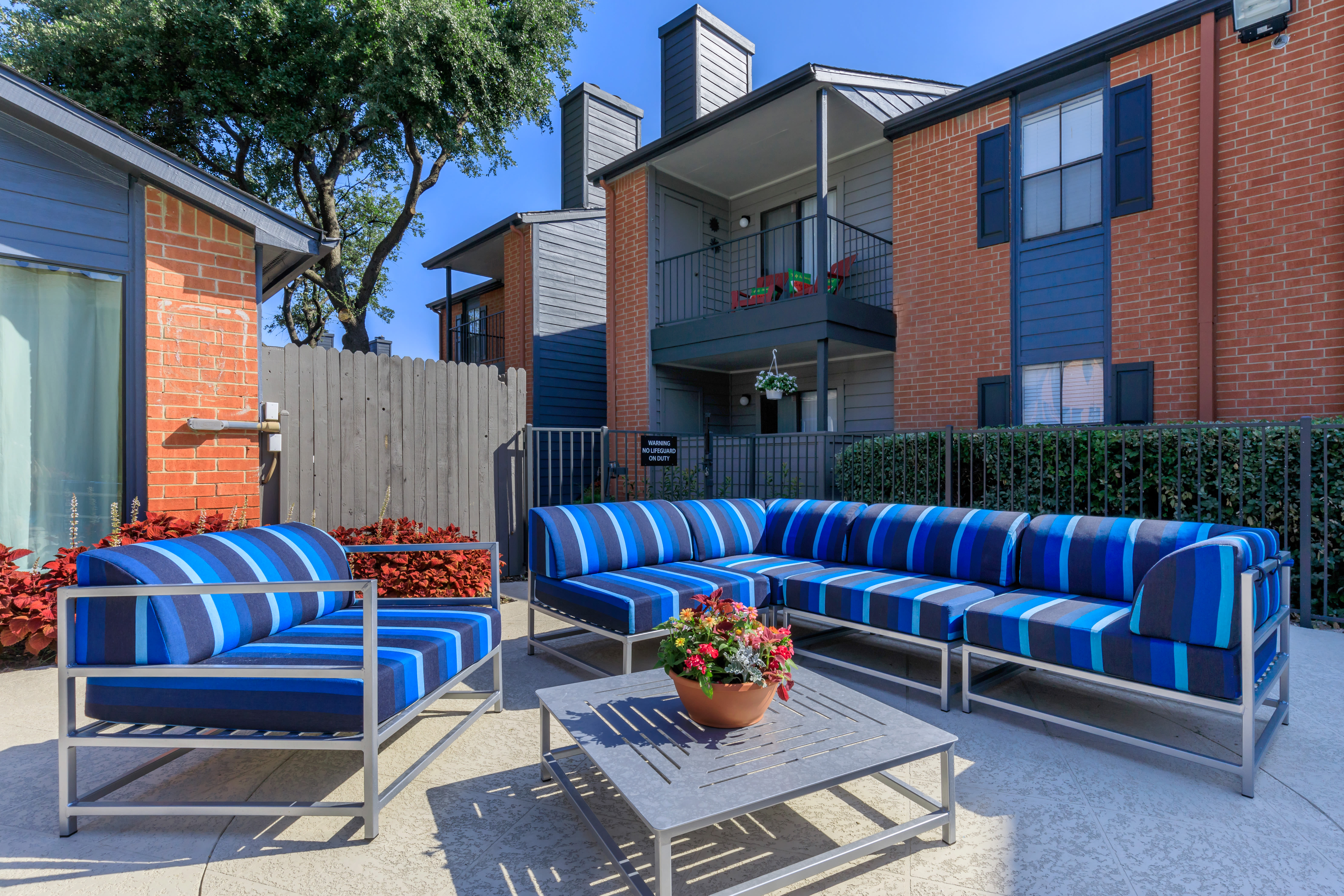 Comfortable patio seating at Windmill Terrace in Bedford, Texas