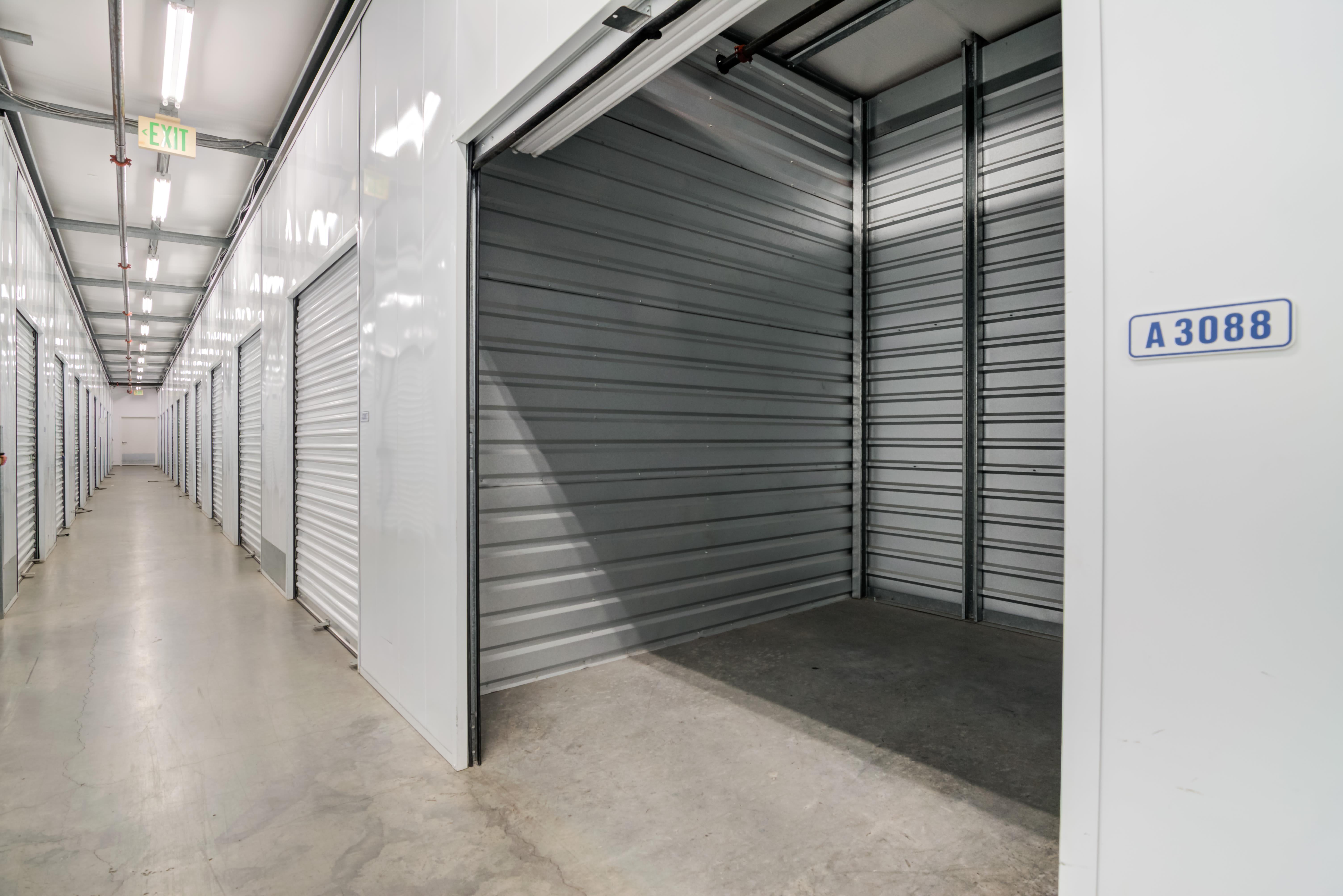 Close up of open indoor storage unit at Storage Etc... Hancock St in San Diego,CA