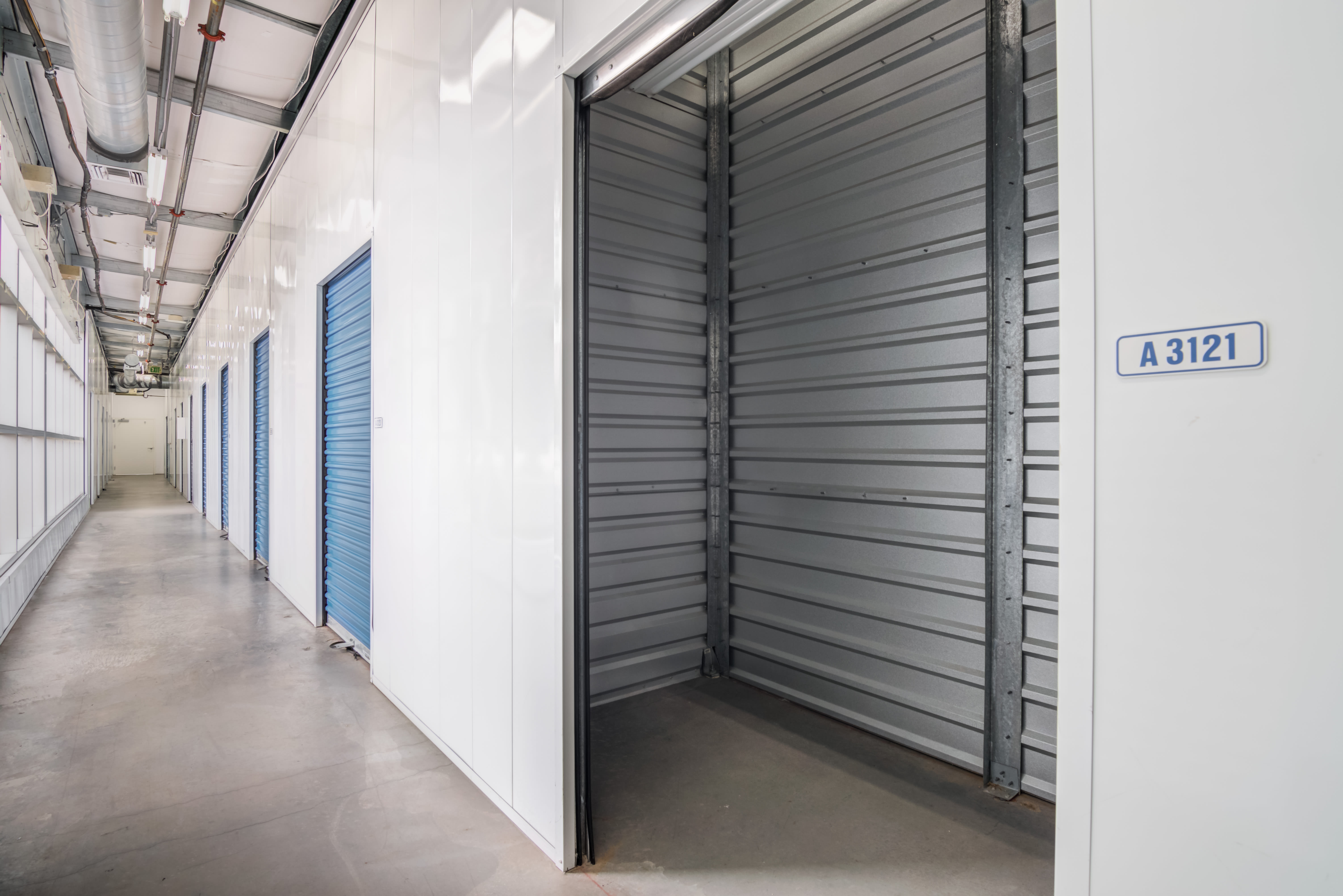Open indoor storage unit at Storage Etc... Hancock St in San Diego,CA
