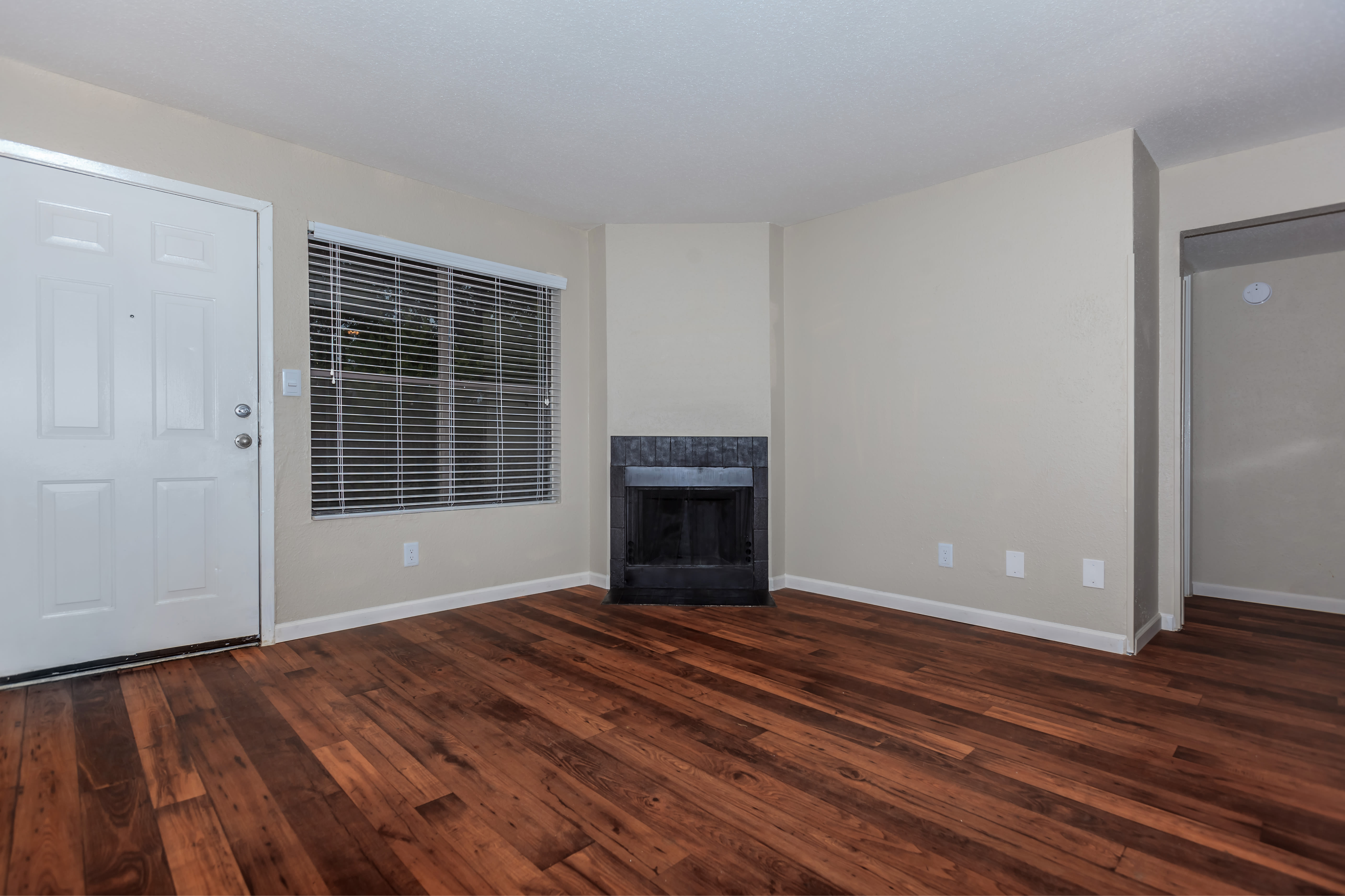 Model living room at Windmill Terrace in Bedford, Texas