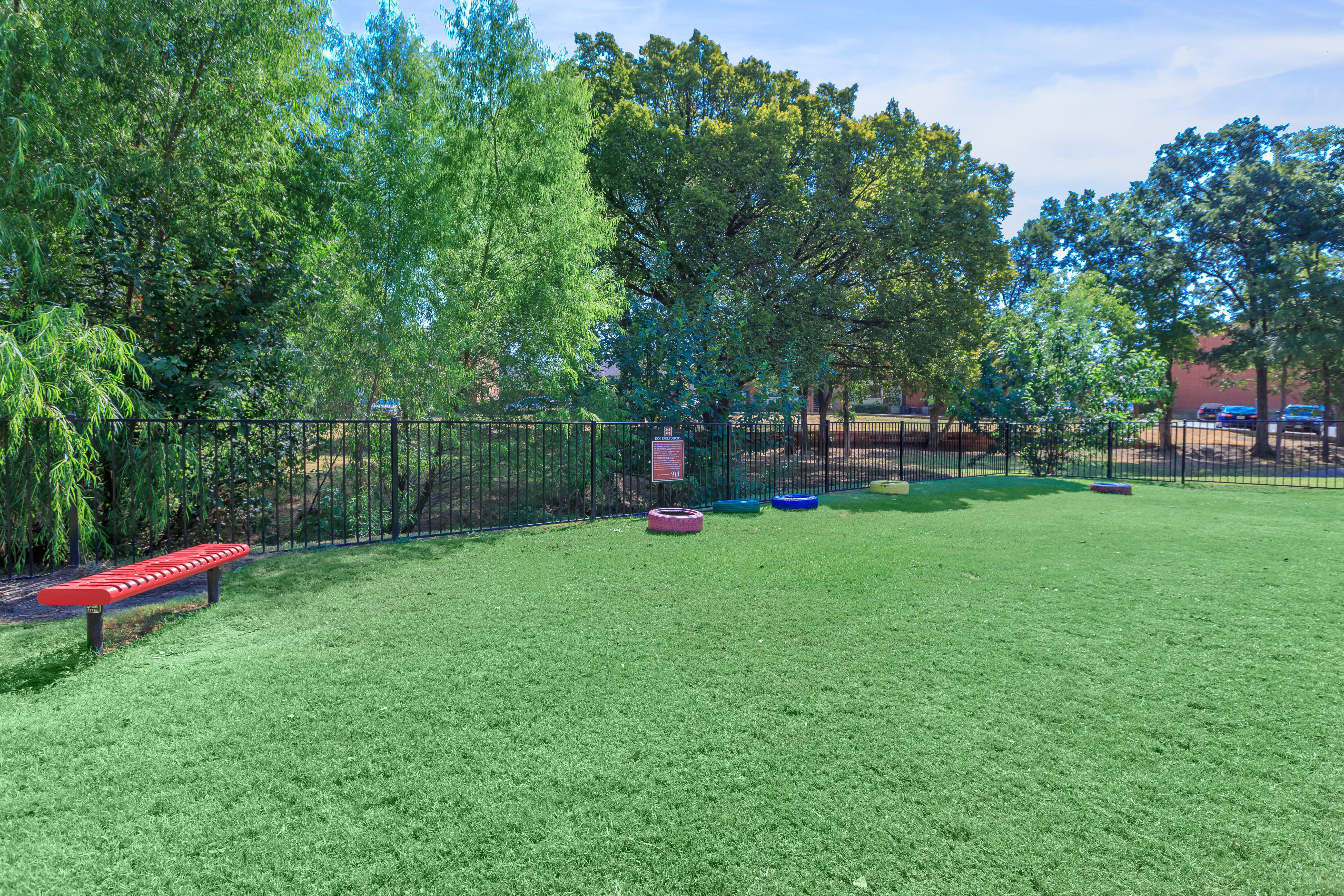 Dog park at Windmill Terrace in Bedford, Texas
