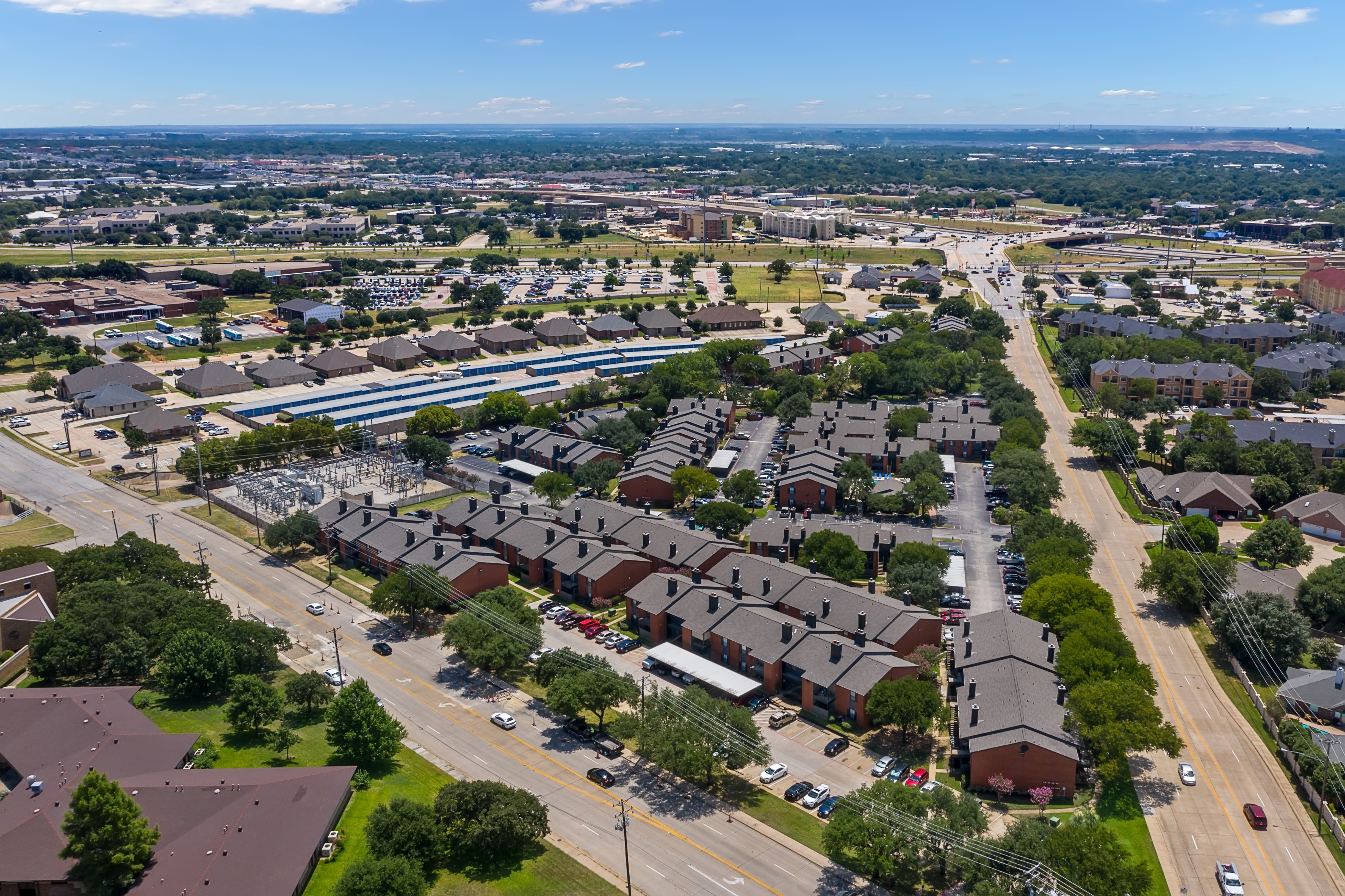 Aerial view of Windmill Terrace in Bedford, Texas
