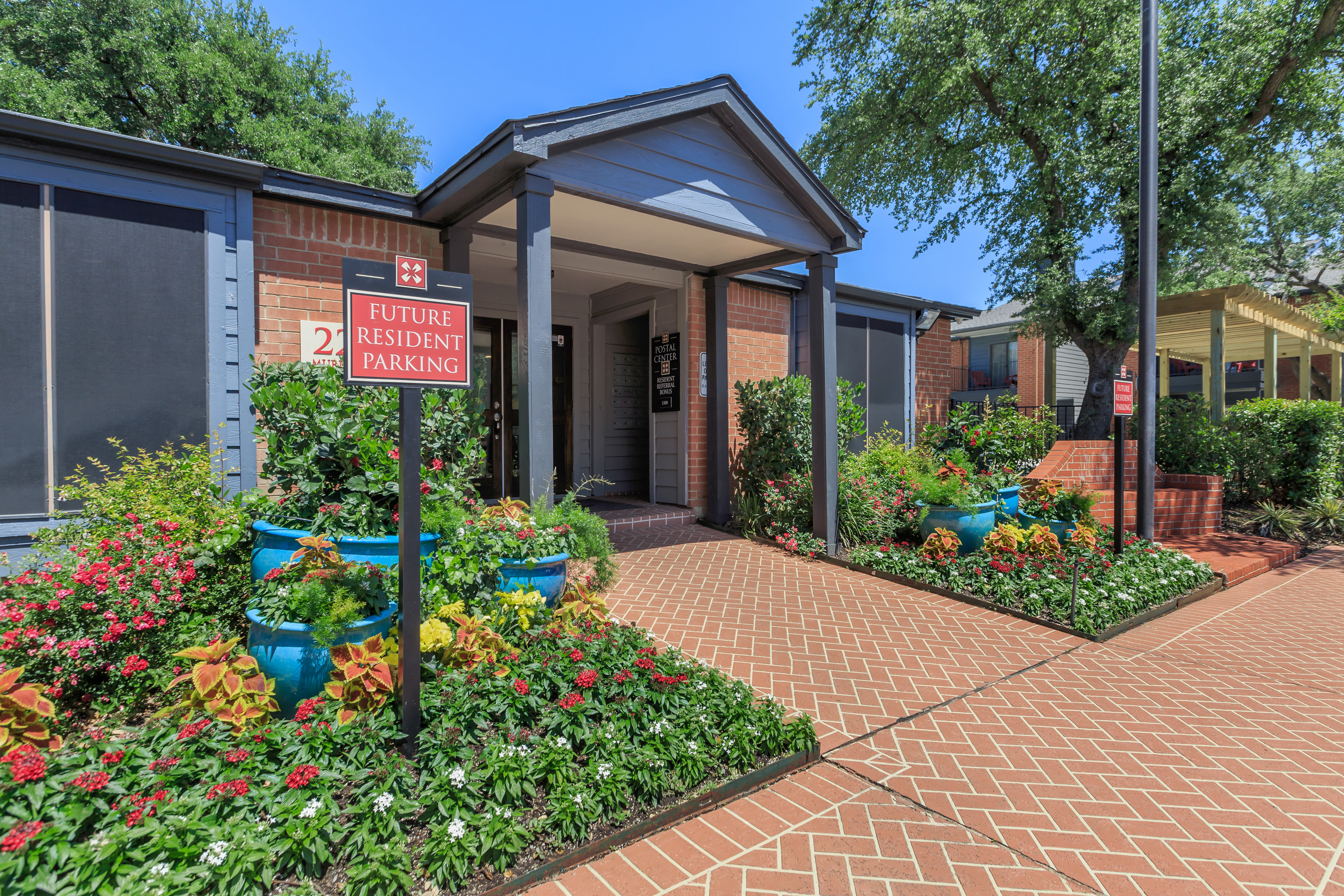 Entrance to the office at Windmill Terrace in Bedford, Texas