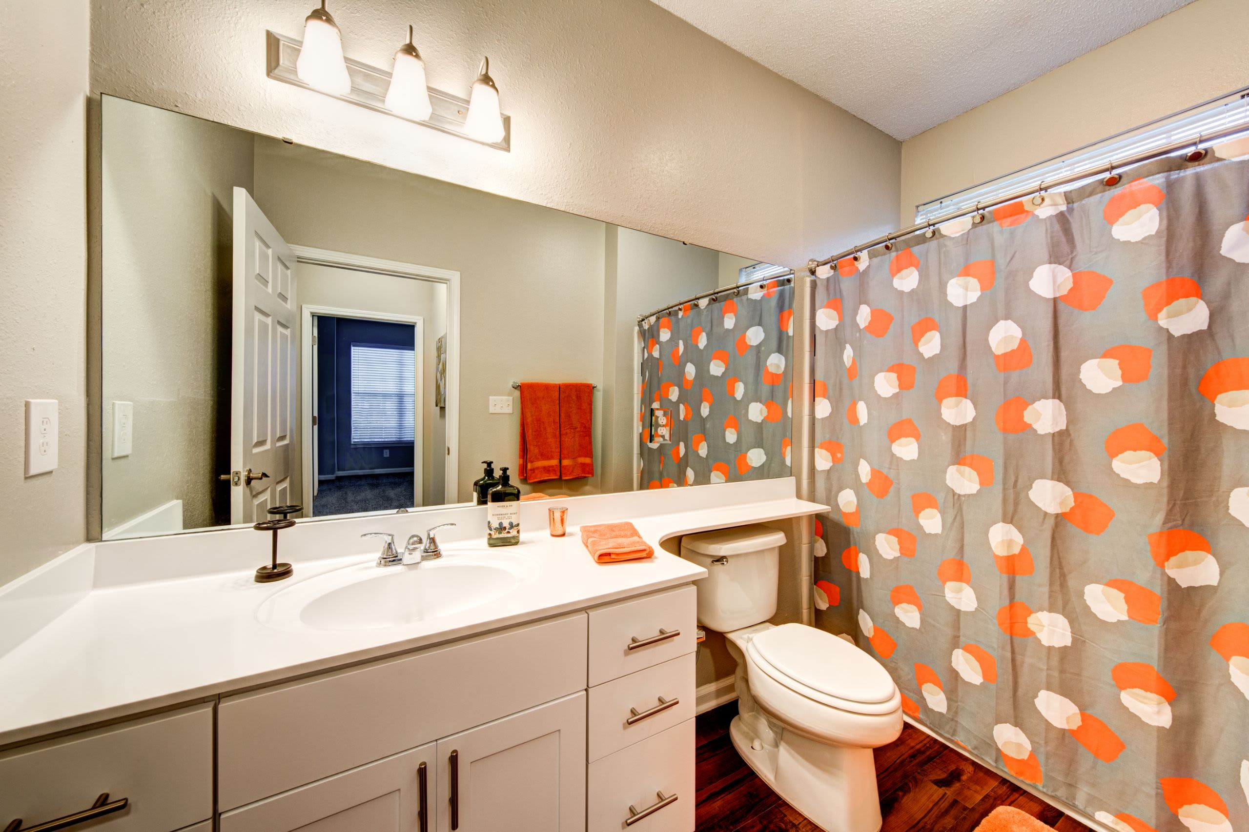 Bright bathroom at Marquis on Edwards Mill in Raleigh, North Carolina