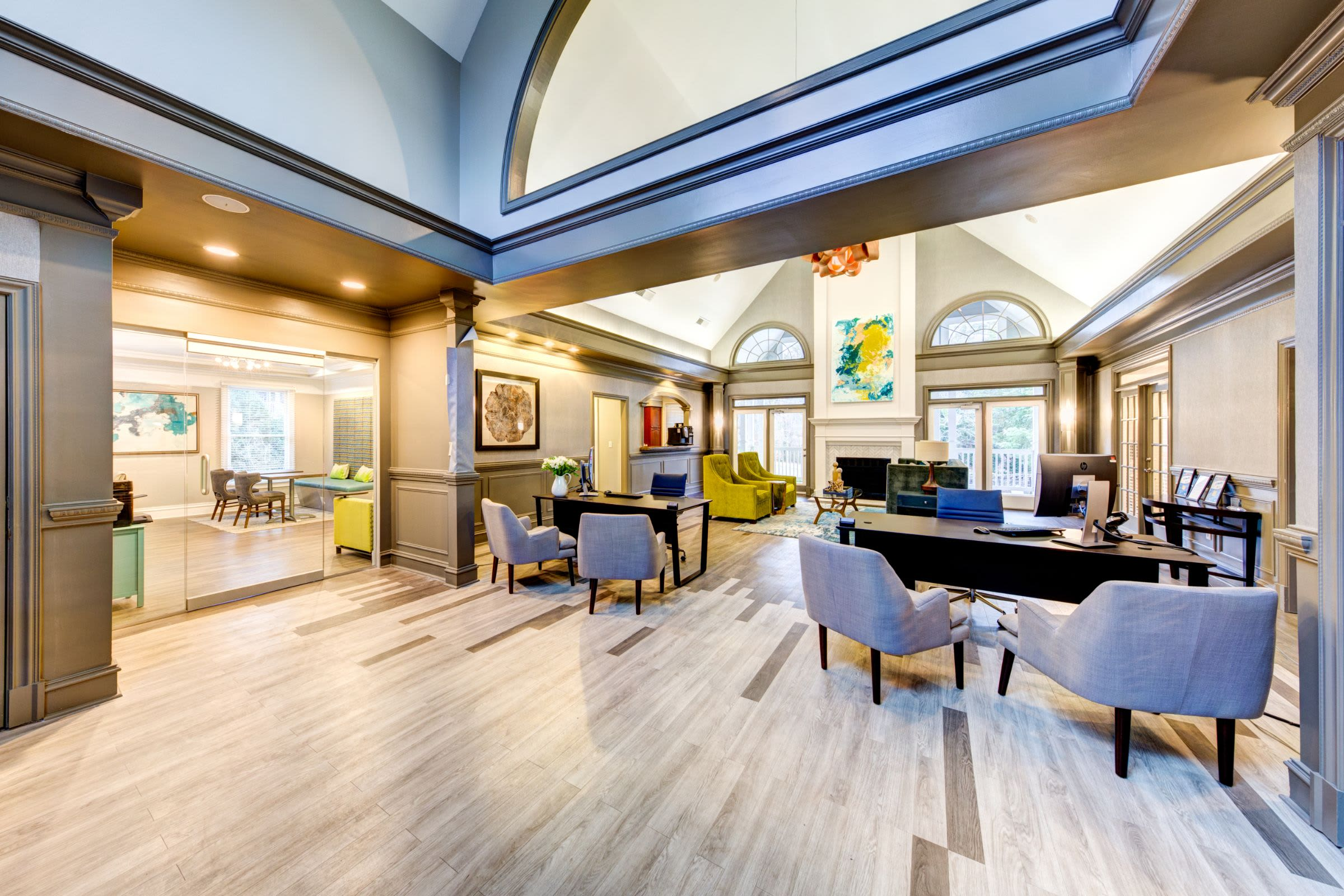 Broad view of the interior of the clubhouse at Marquis on Edwards Mill in Raleigh, North Carolina