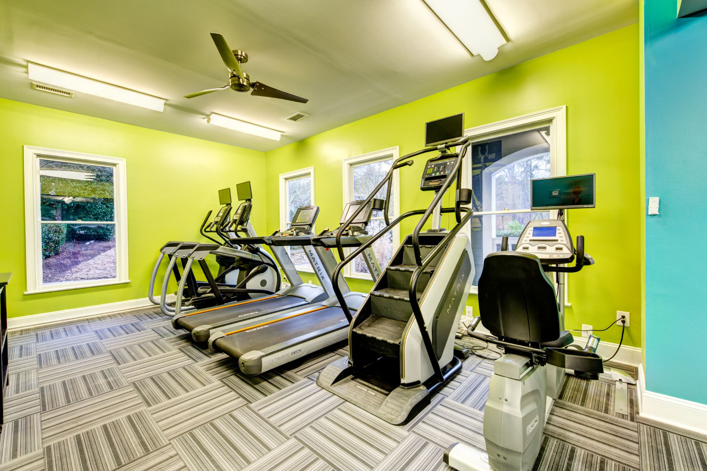 Cardio machines in the fitness center at Marquis on Edwards Mill in Raleigh, North Carolina