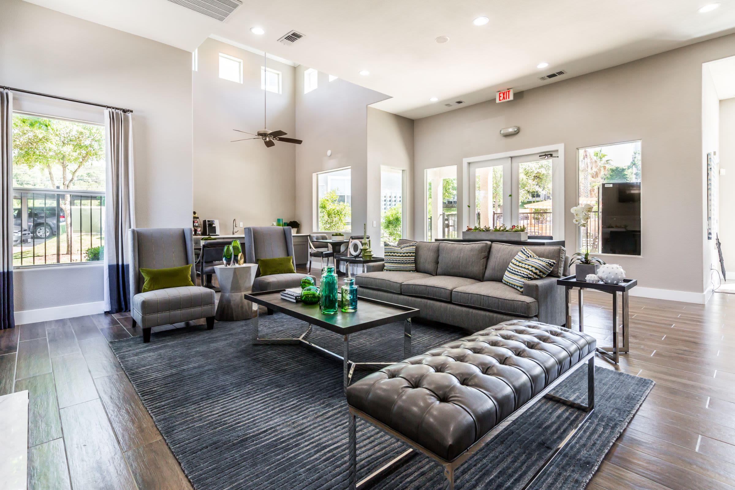 Clubhouse interior with ample seating at Marquis at Crown Ridge in San Antonio, Texas